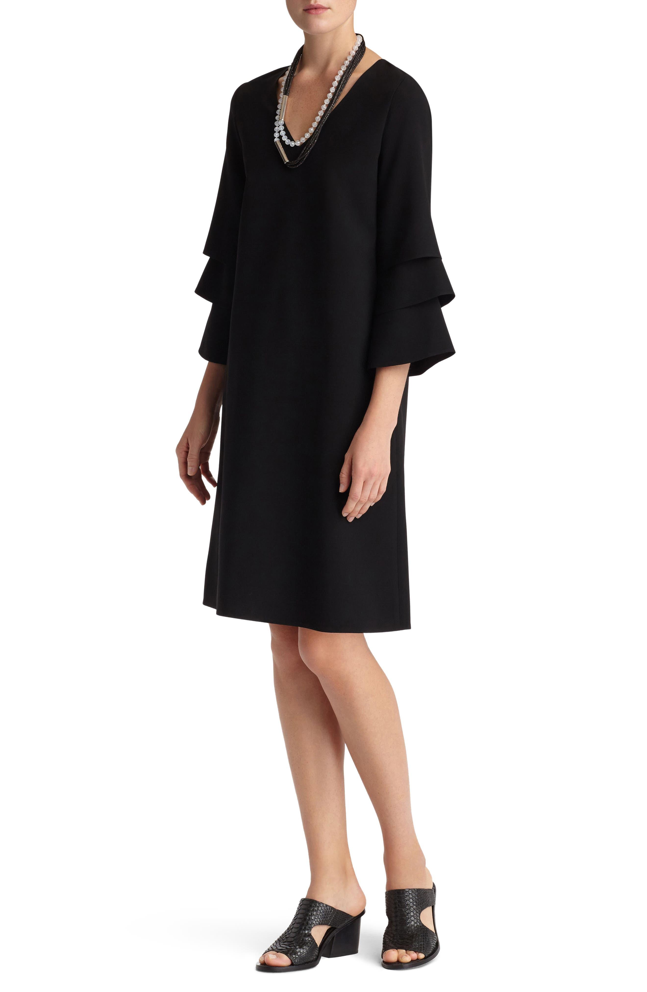 Velez Finesse Crepe Shift Dress,                             Alternate thumbnail 3, color,                             Black