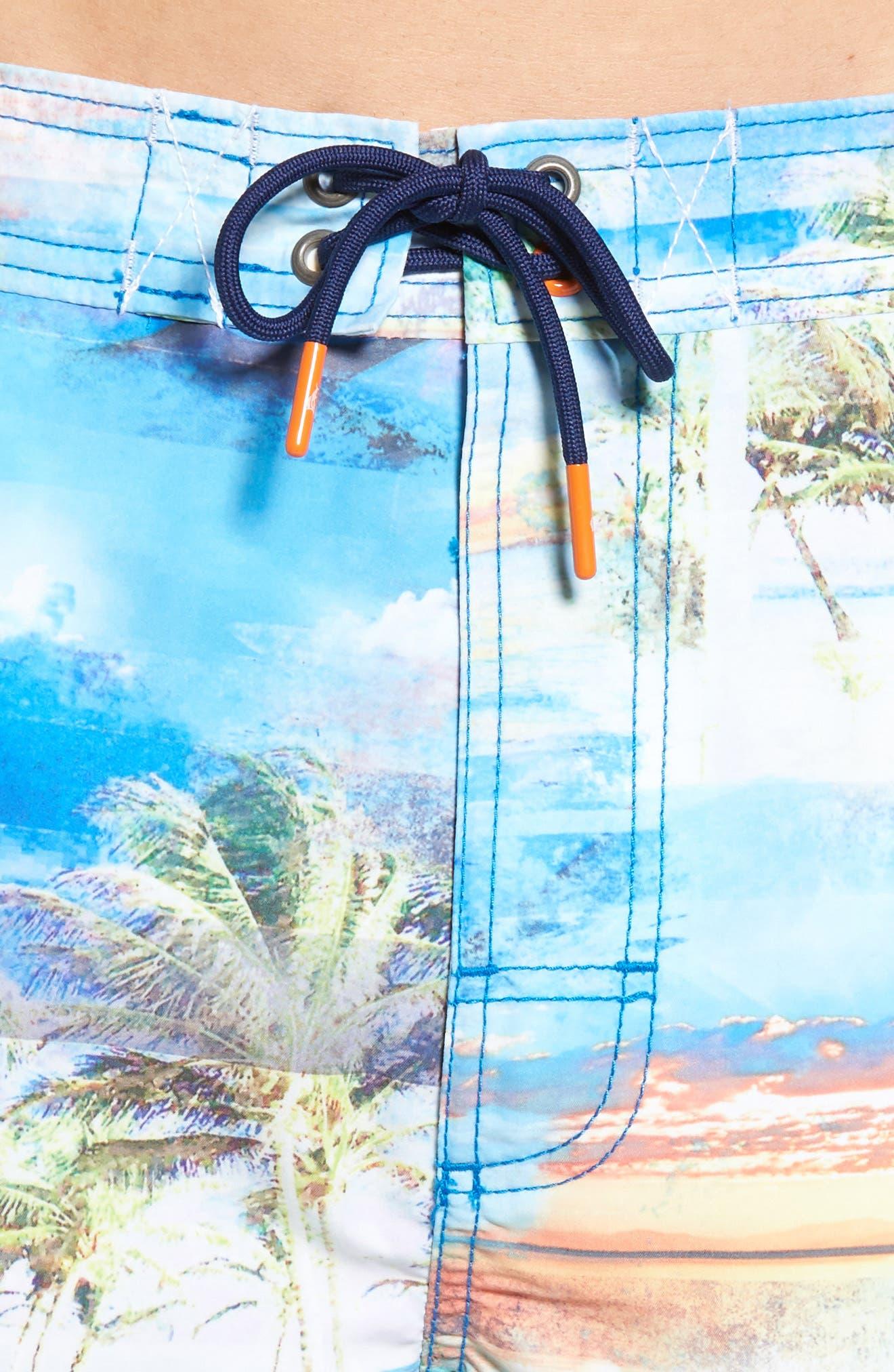 Baja Electric Beach Swim Trunks,                             Alternate thumbnail 4, color,                             Galaxy Blue