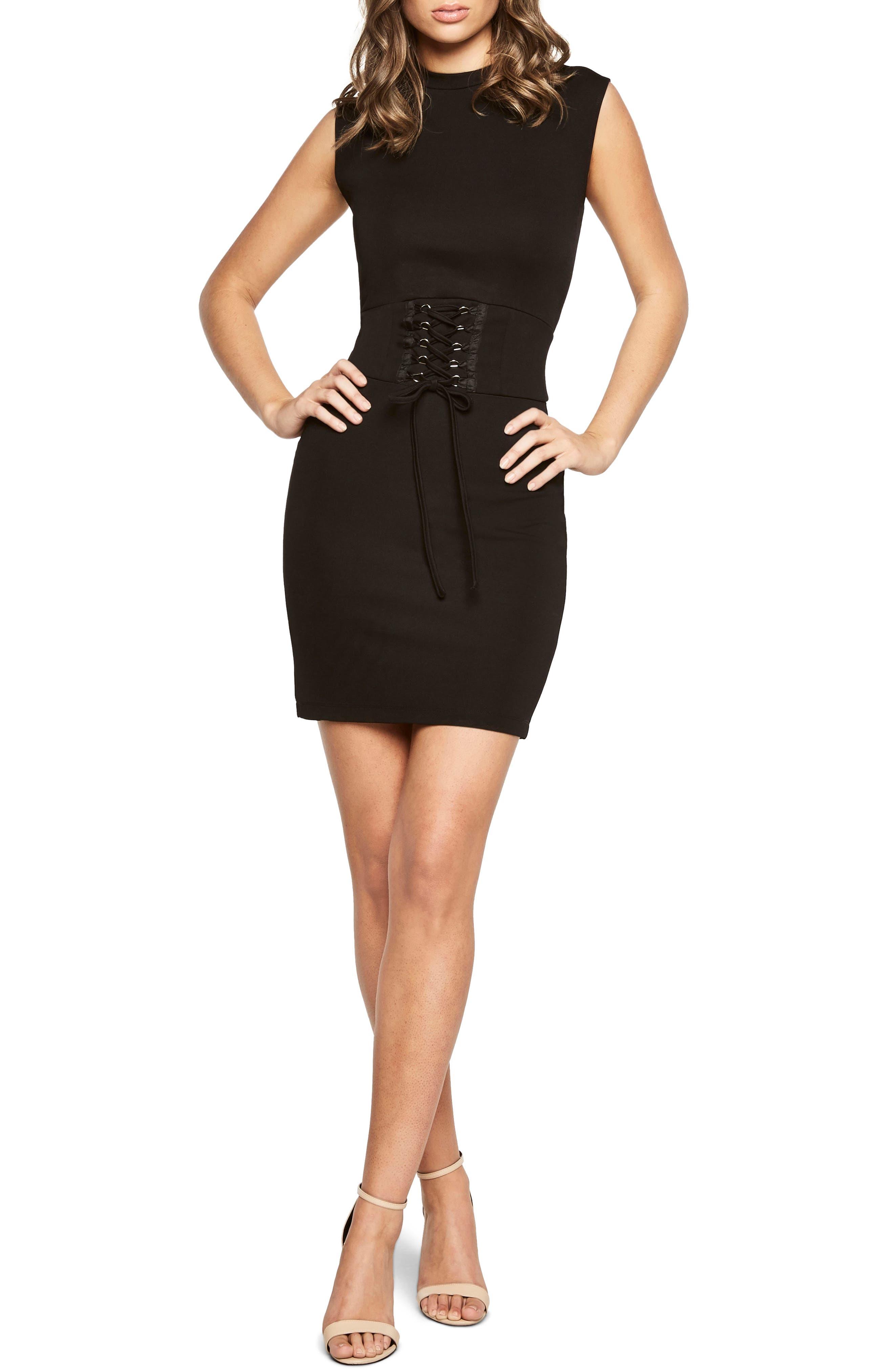 Mila Corset Body-Con Dress,                         Main,                         color, Black