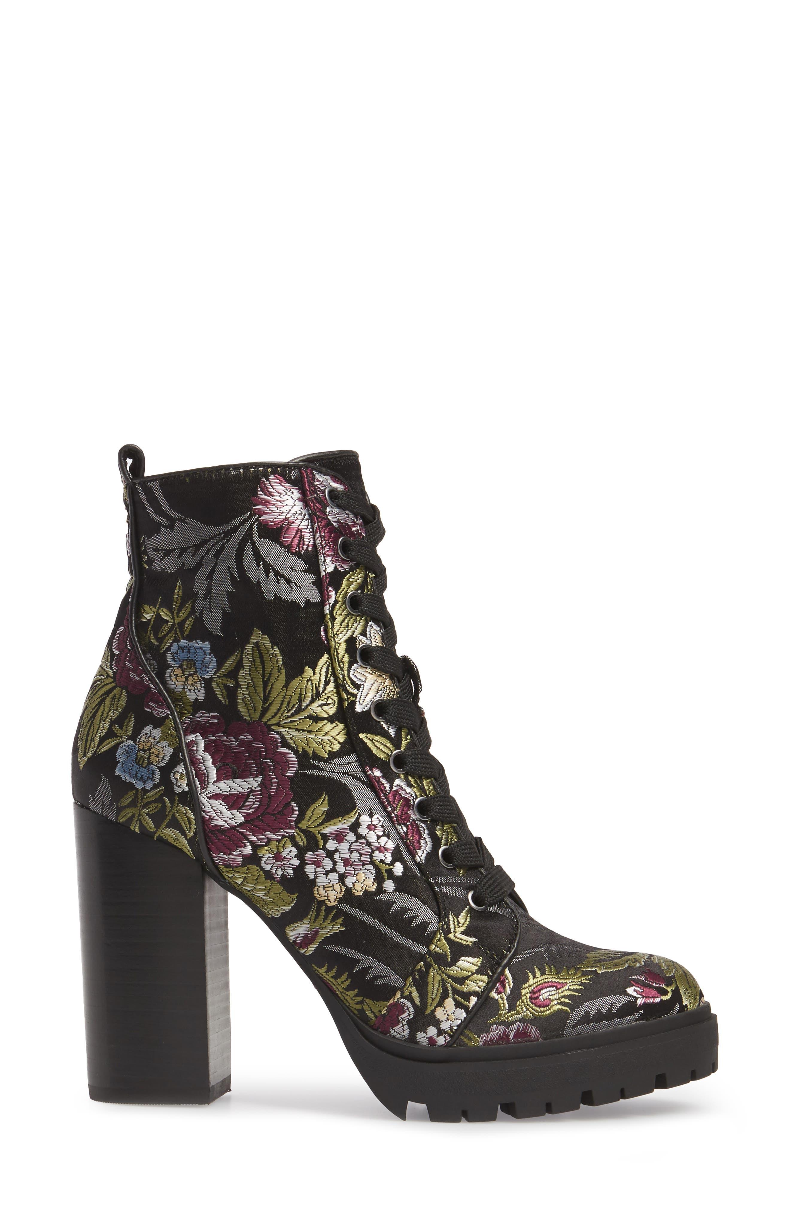 Laurie Platform Bootie,                             Alternate thumbnail 3, color,                             Black Floral Fabric