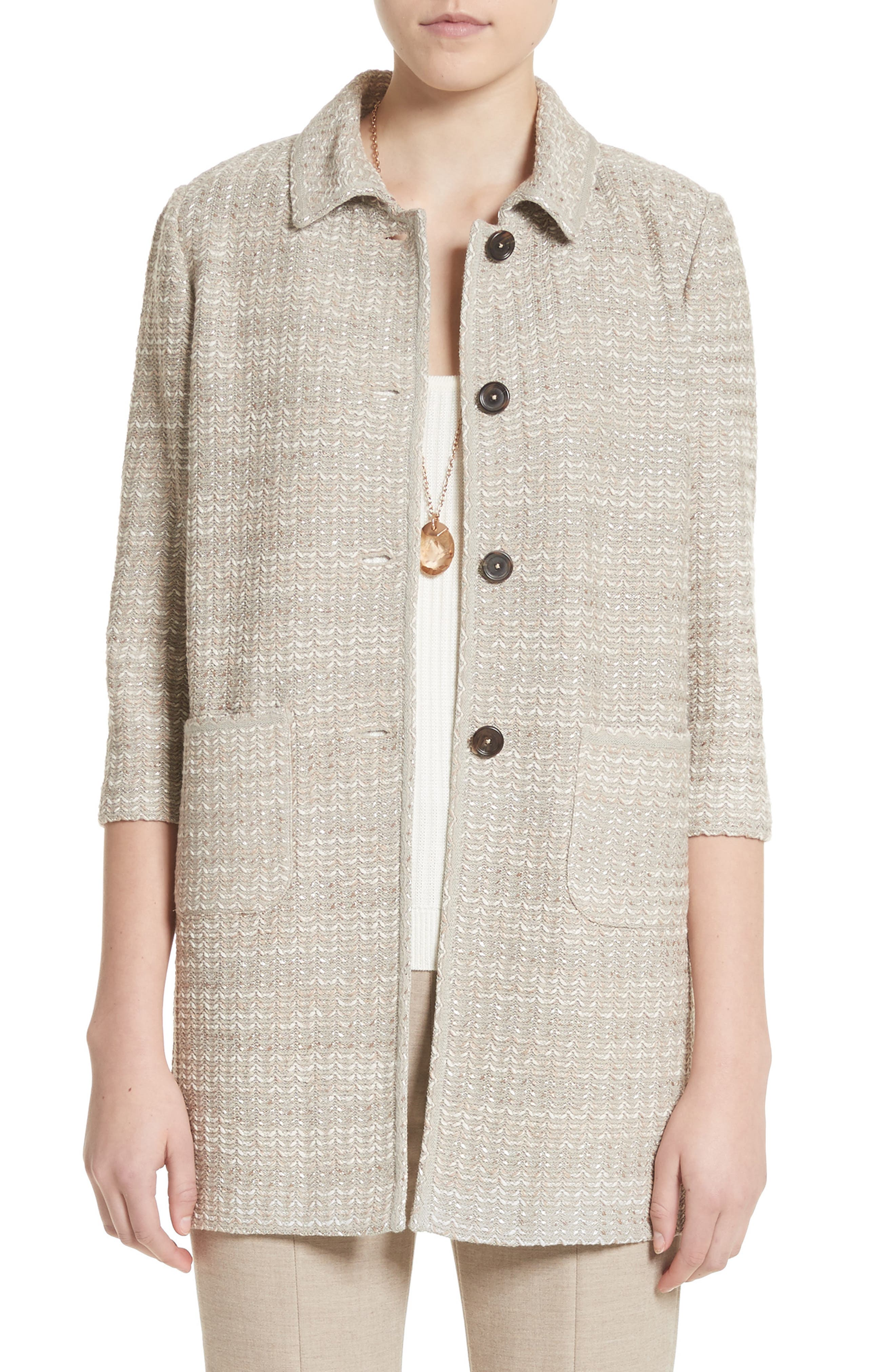 Chevron Knit Shantung Jacket,                         Main,                         color, Taupe Multi