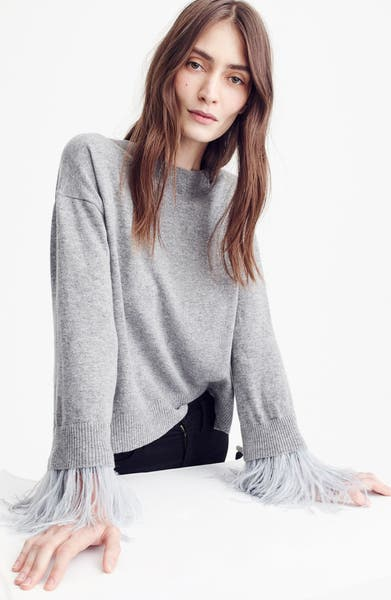 Main Image - J.Crew Feather Sleeve Crewneck Sweater