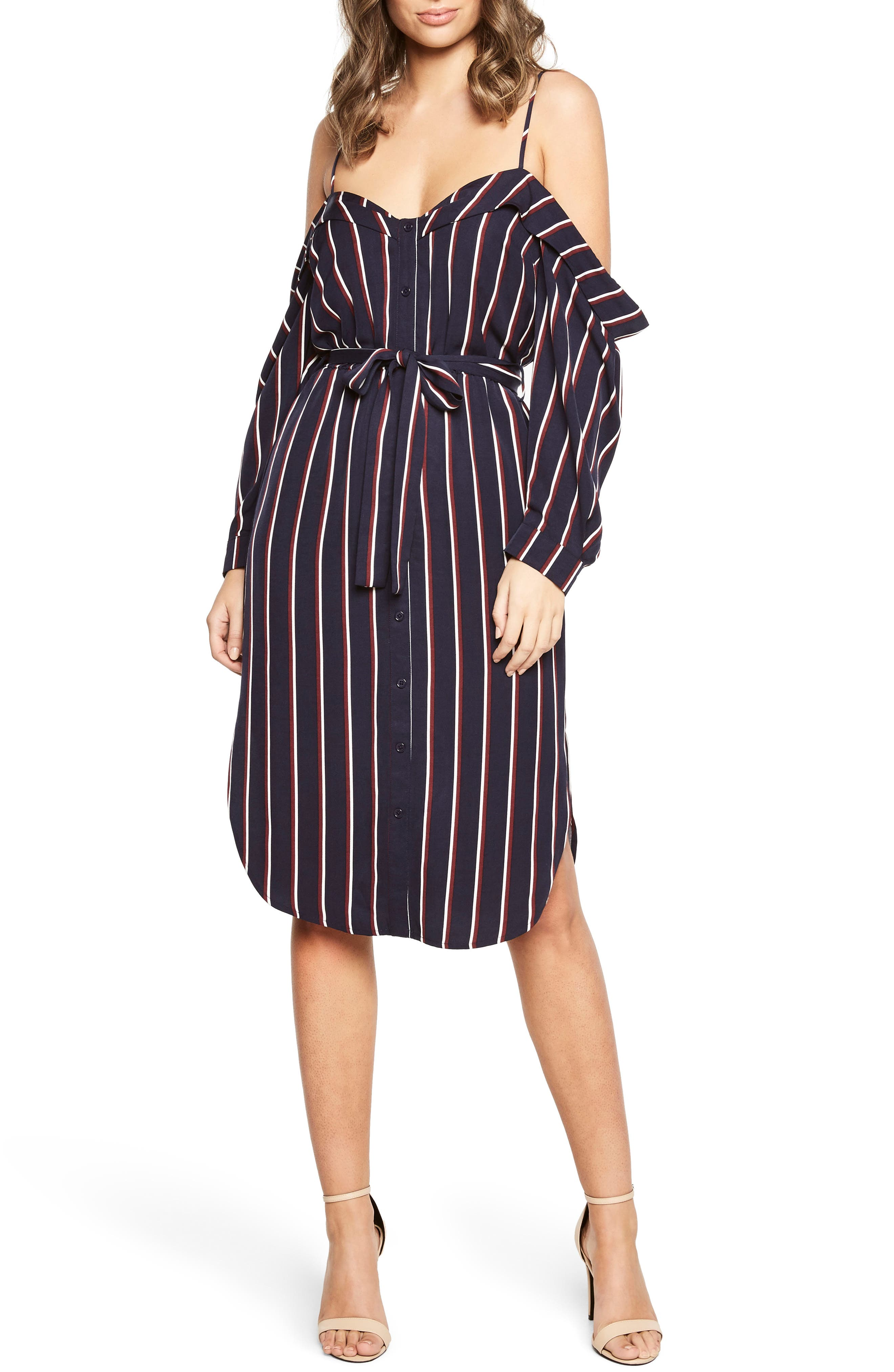 Paloma Off the Shoulder Dress,                             Main thumbnail 1, color,                             Navy Stripe