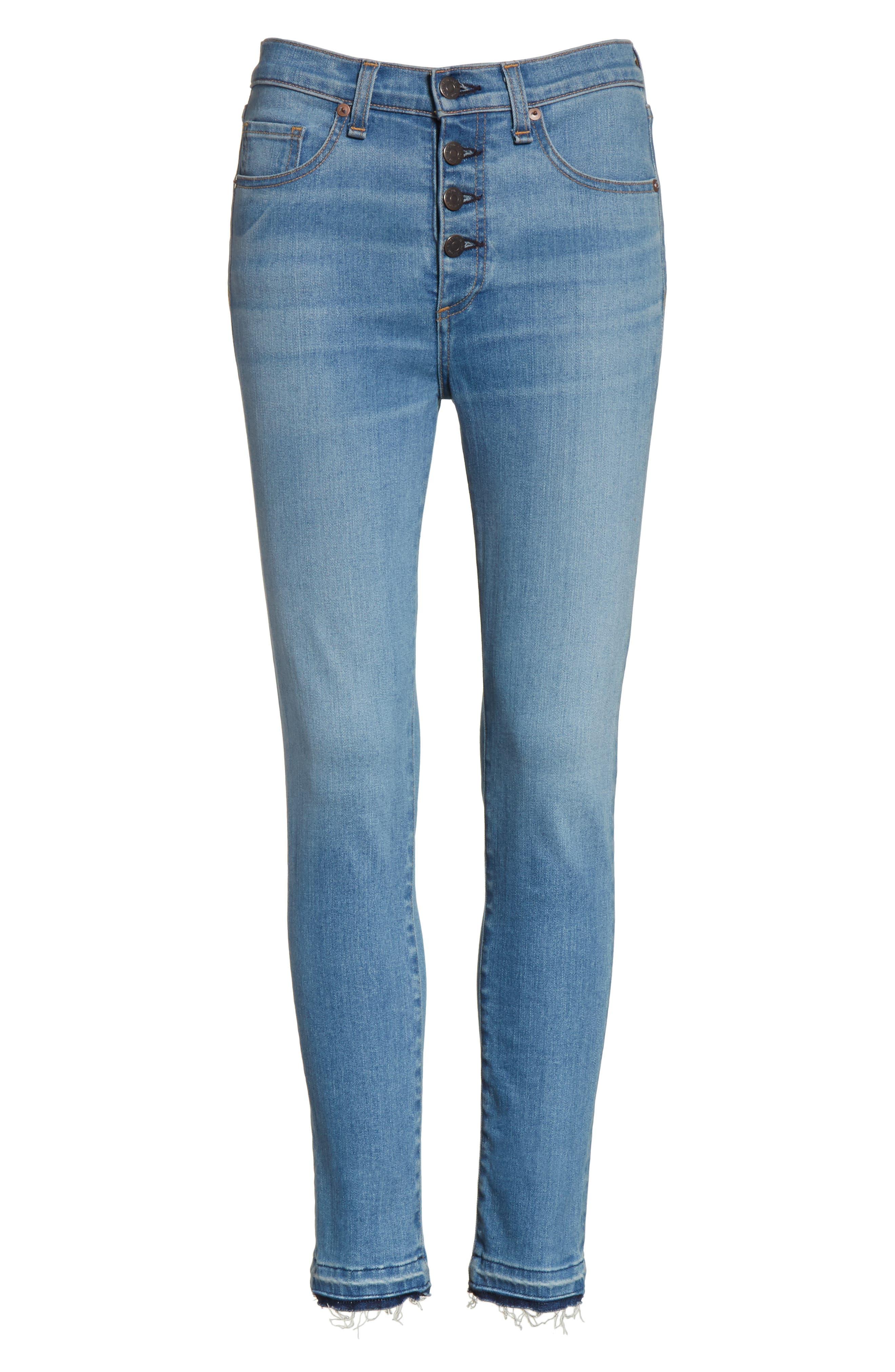 Debbie High Waist Fray Hem Jeans,                             Alternate thumbnail 6, color,                             Retro Blue