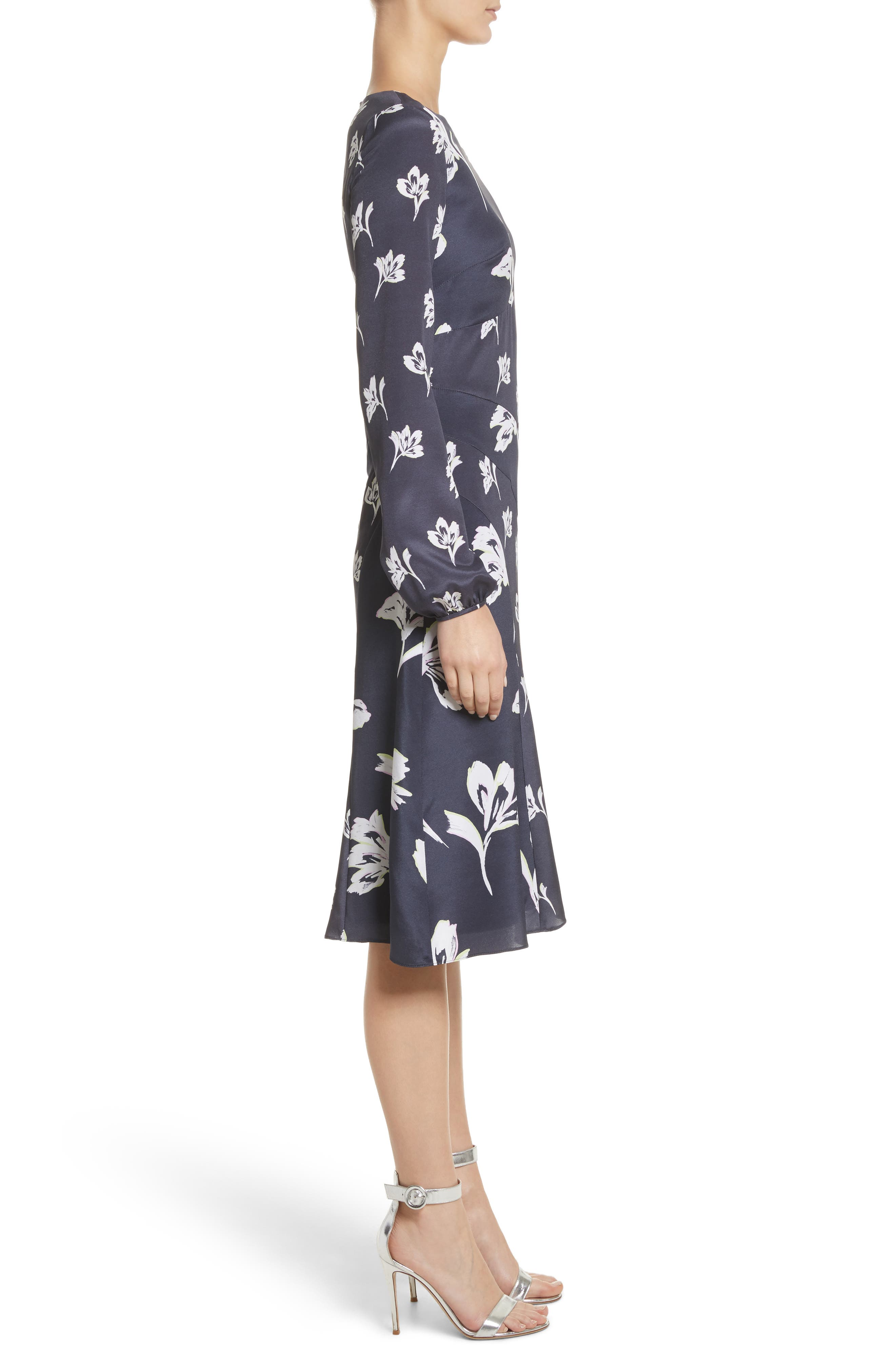Falling Flower Print Stretch Silk Dress,                             Alternate thumbnail 3, color,                             Anthracite Multi