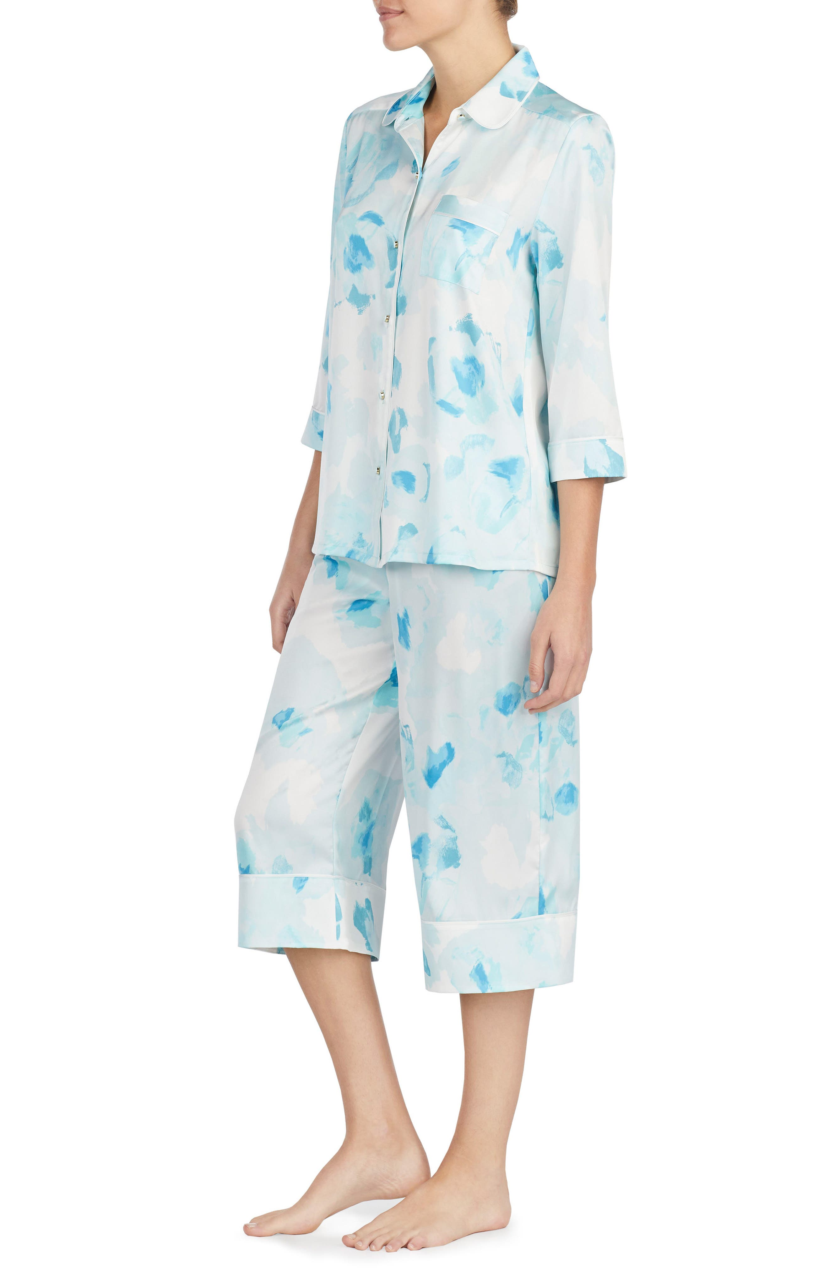 print charmeuse crop pajamas,                             Alternate thumbnail 3, color,                             Moroccan Rose
