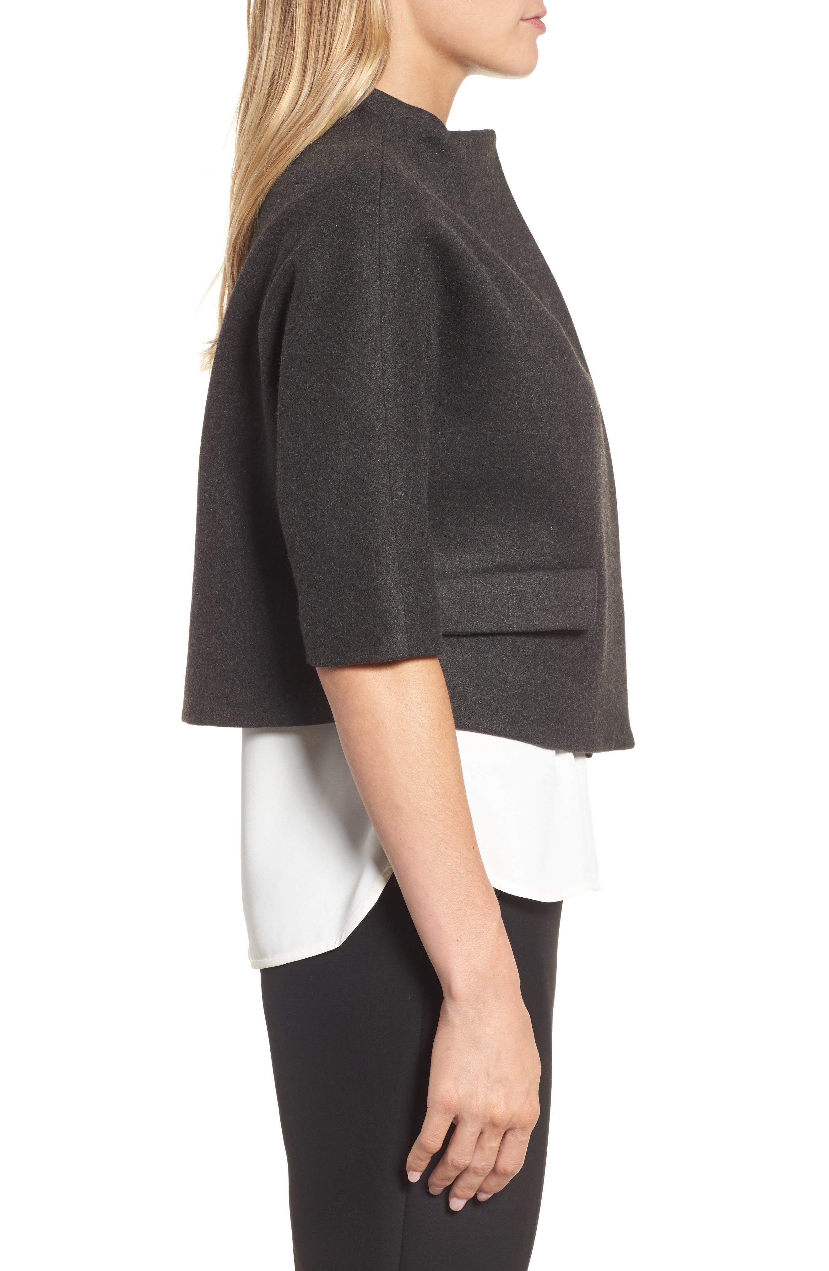Funnel Neck Cropped Jacket,                             Alternate thumbnail 3, color,                             Heather Grey