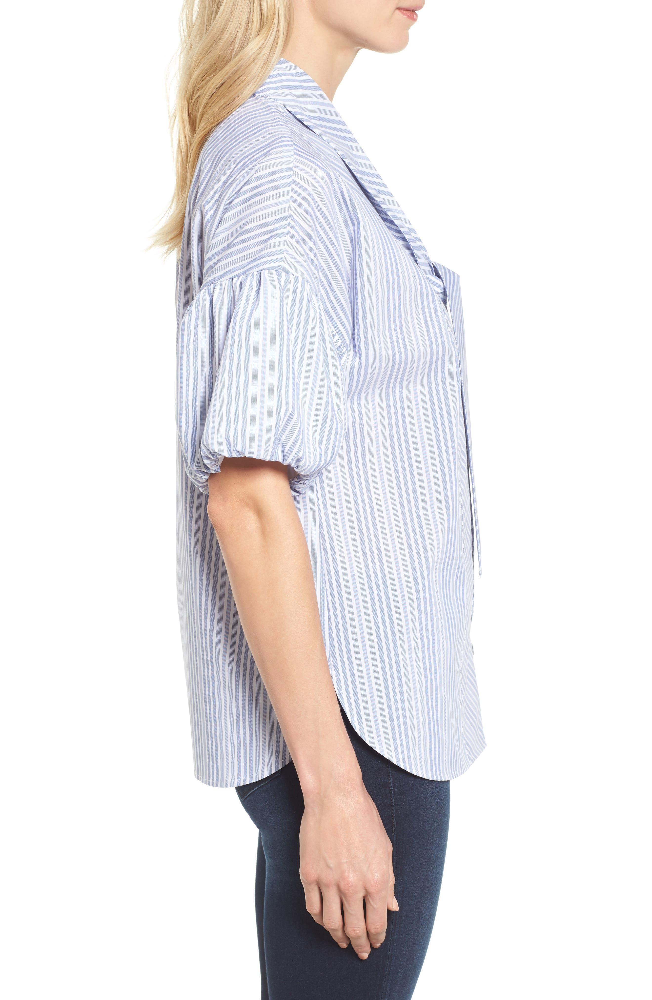 Tie Front Short Sleeve Blouse,                             Alternate thumbnail 4, color,                             Blue- White Stripe
