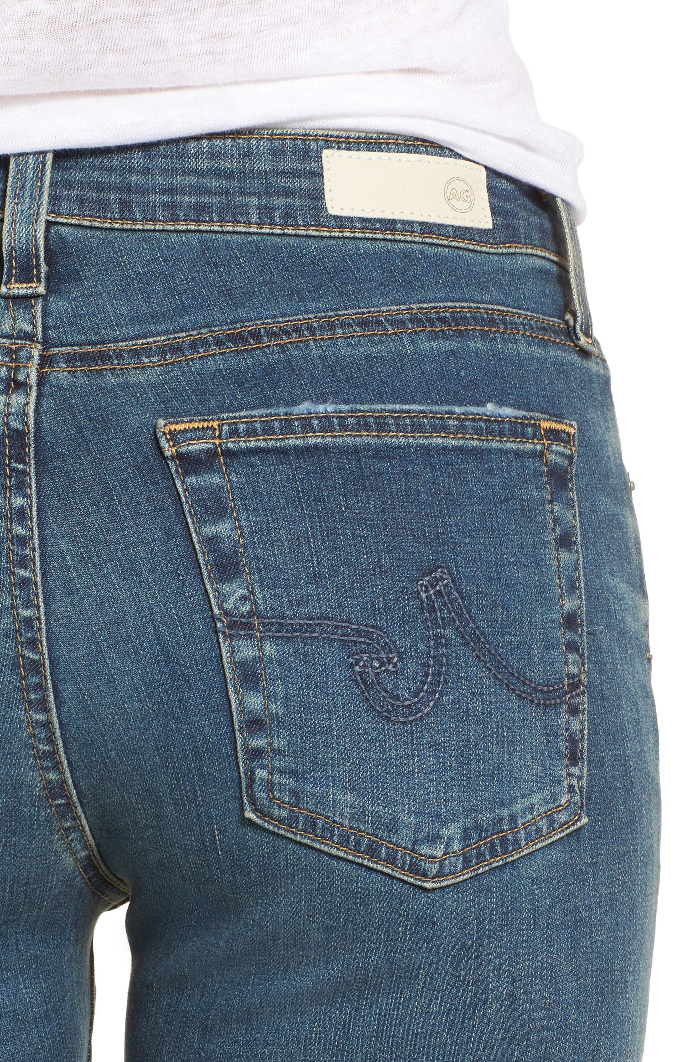 Alternate Image 4  - AG The Farrah High Waist Ankle Skinny Jeans (10 Years Brewed)