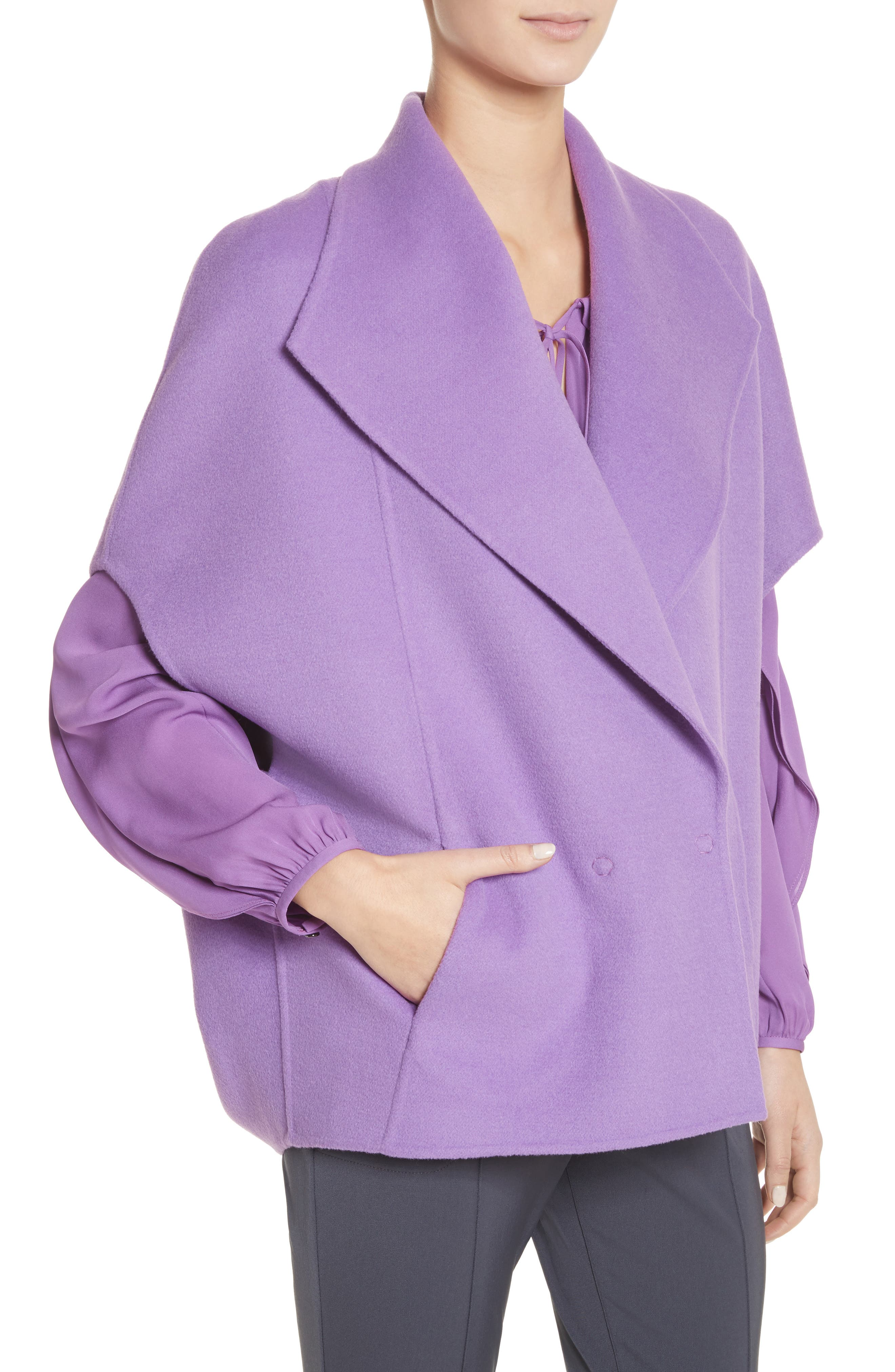 Double Face Wool & Angora Blend Jacket,                             Alternate thumbnail 4, color,                             Dark Orchid