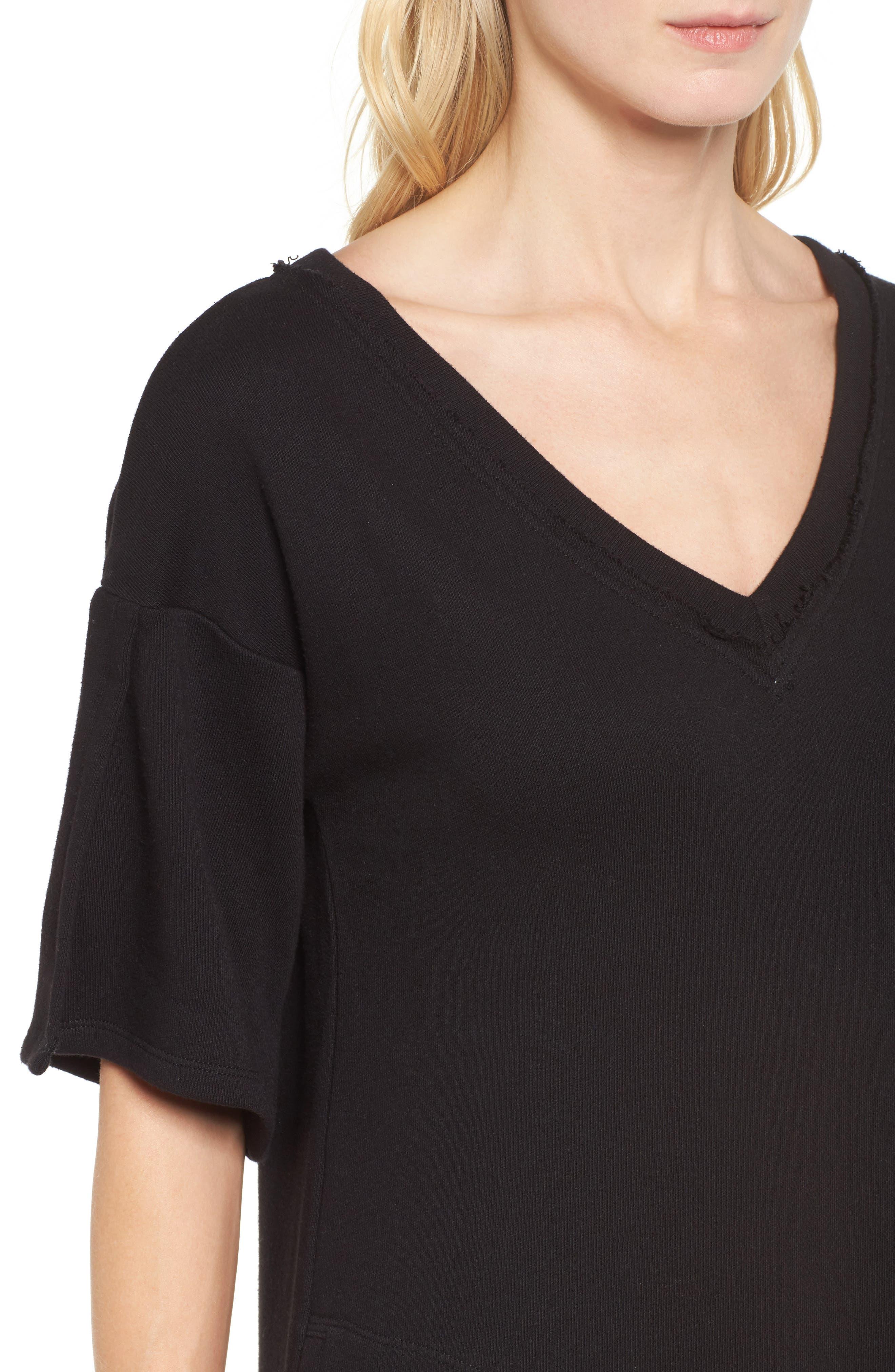 Lace-Up T-Shirt Dress,                             Alternate thumbnail 4, color,                             Black