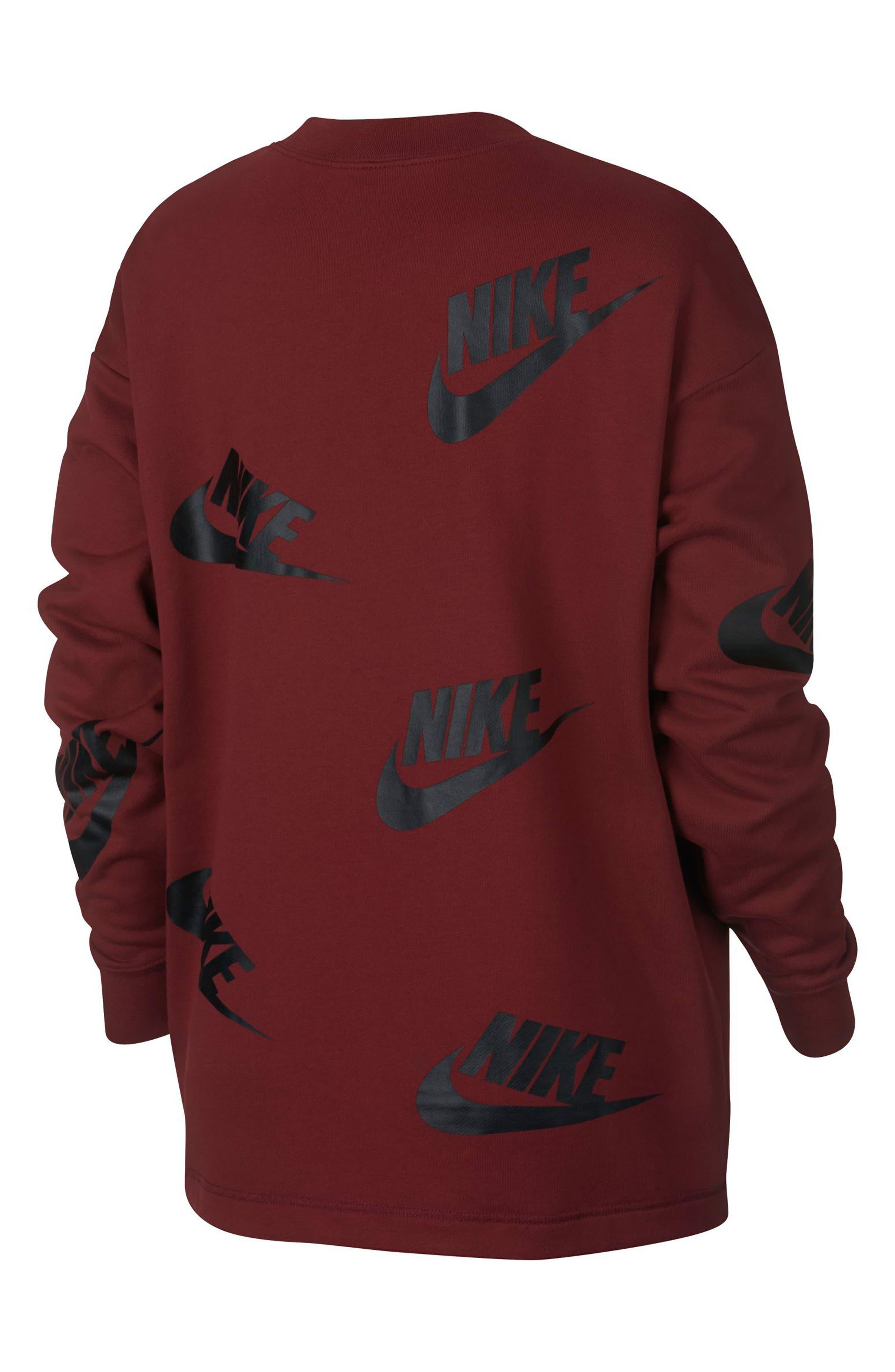 Sportswear Futura Women's Crewneck Sweatshirt,                             Alternate thumbnail 2, color,                             Team Red/ Black