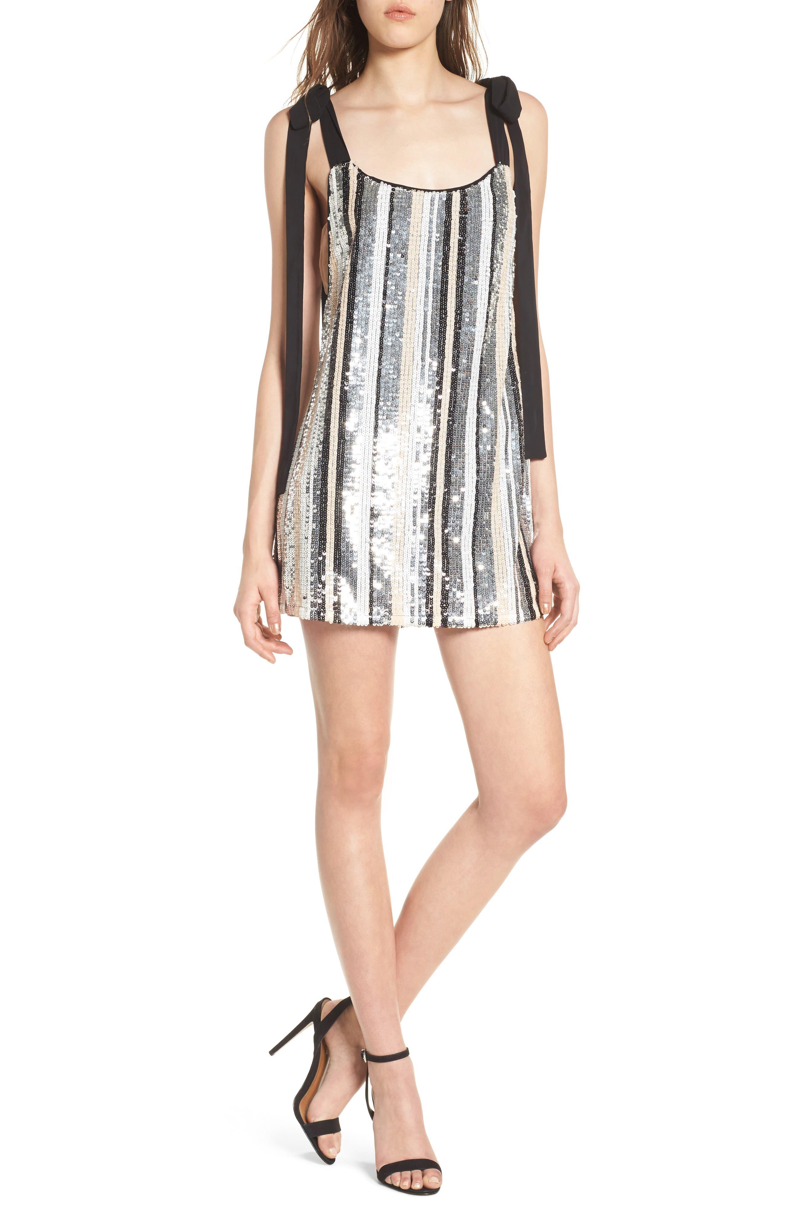 NBD Suri Sequin Stripe Minidress