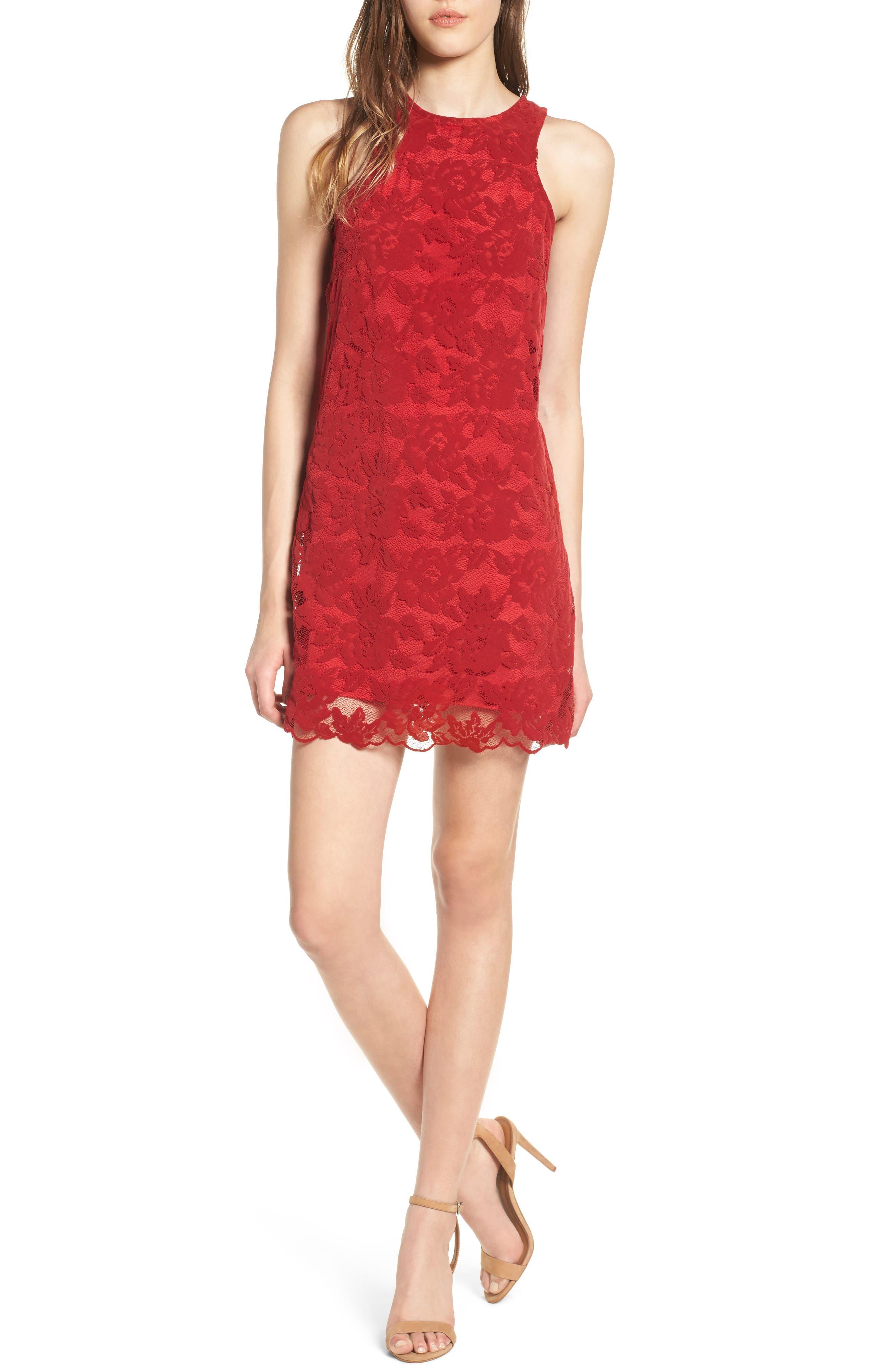 Caspian Lace Sheath Dress,                             Main thumbnail 1, color,                             Bordeaux