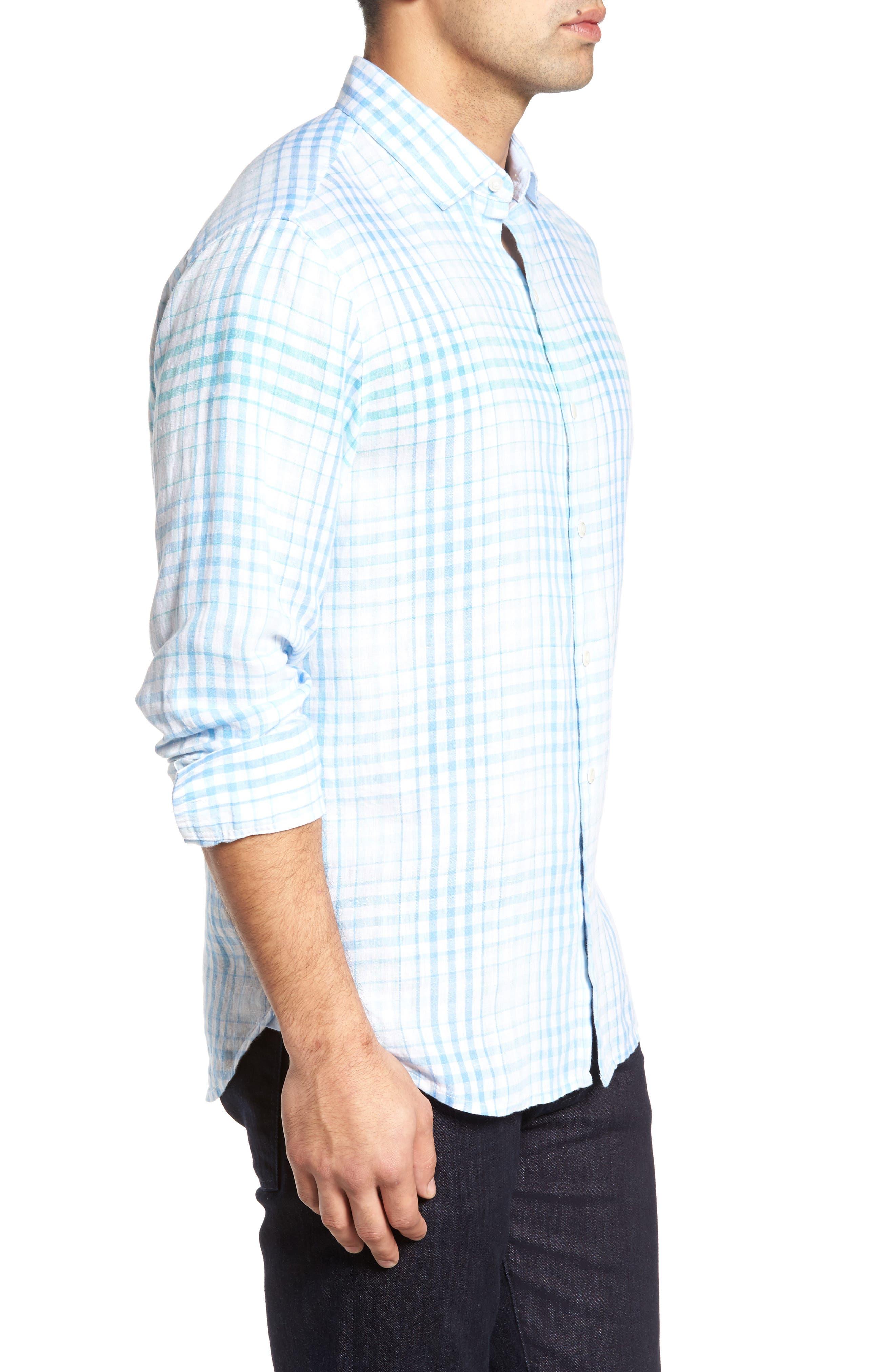 Malahina Plaid Linen Sport Shirt,                             Alternate thumbnail 3, color,                             Blue Canal