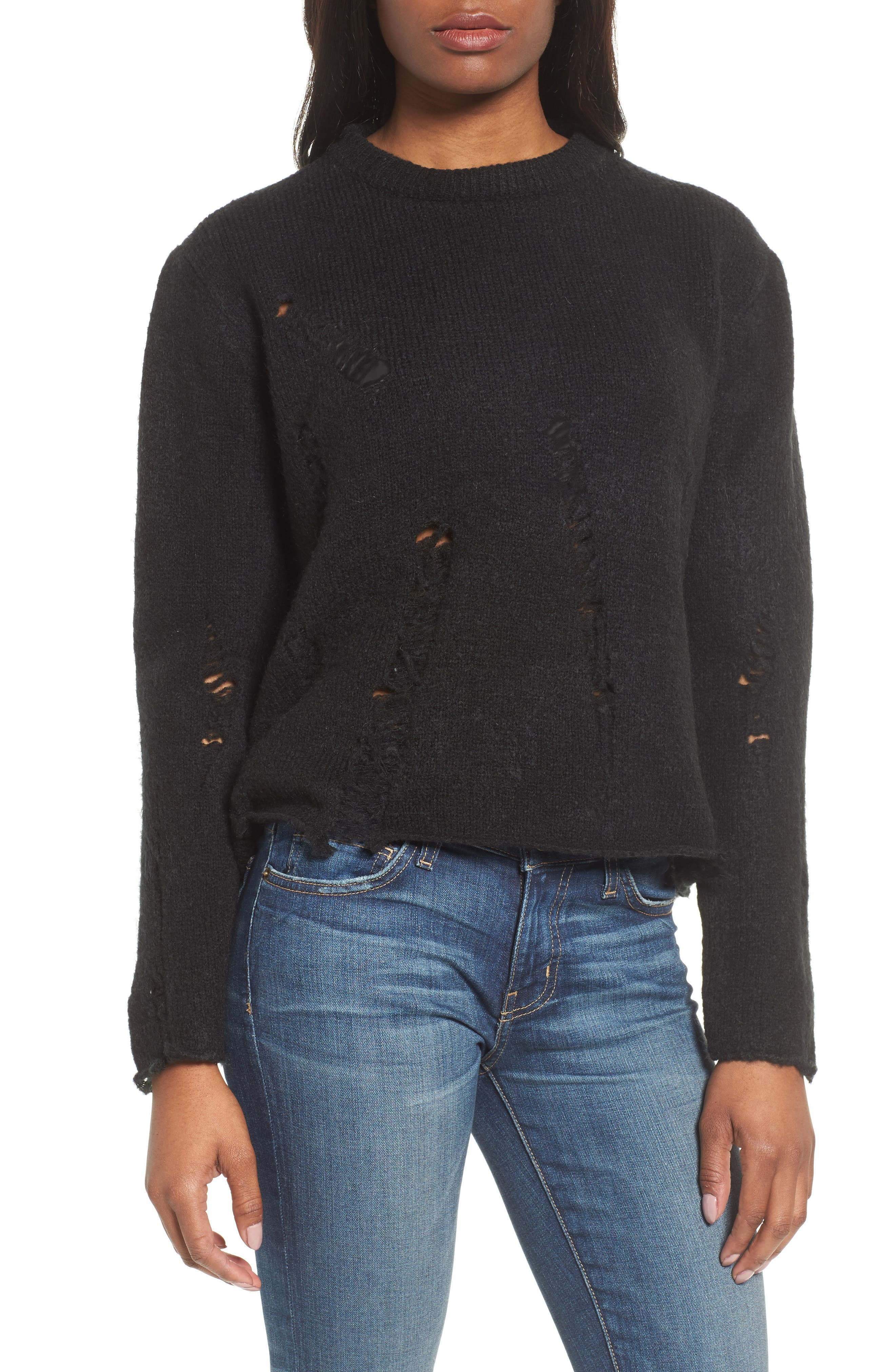 Destroyed High/Low Sweater,                             Main thumbnail 1, color,                             Black