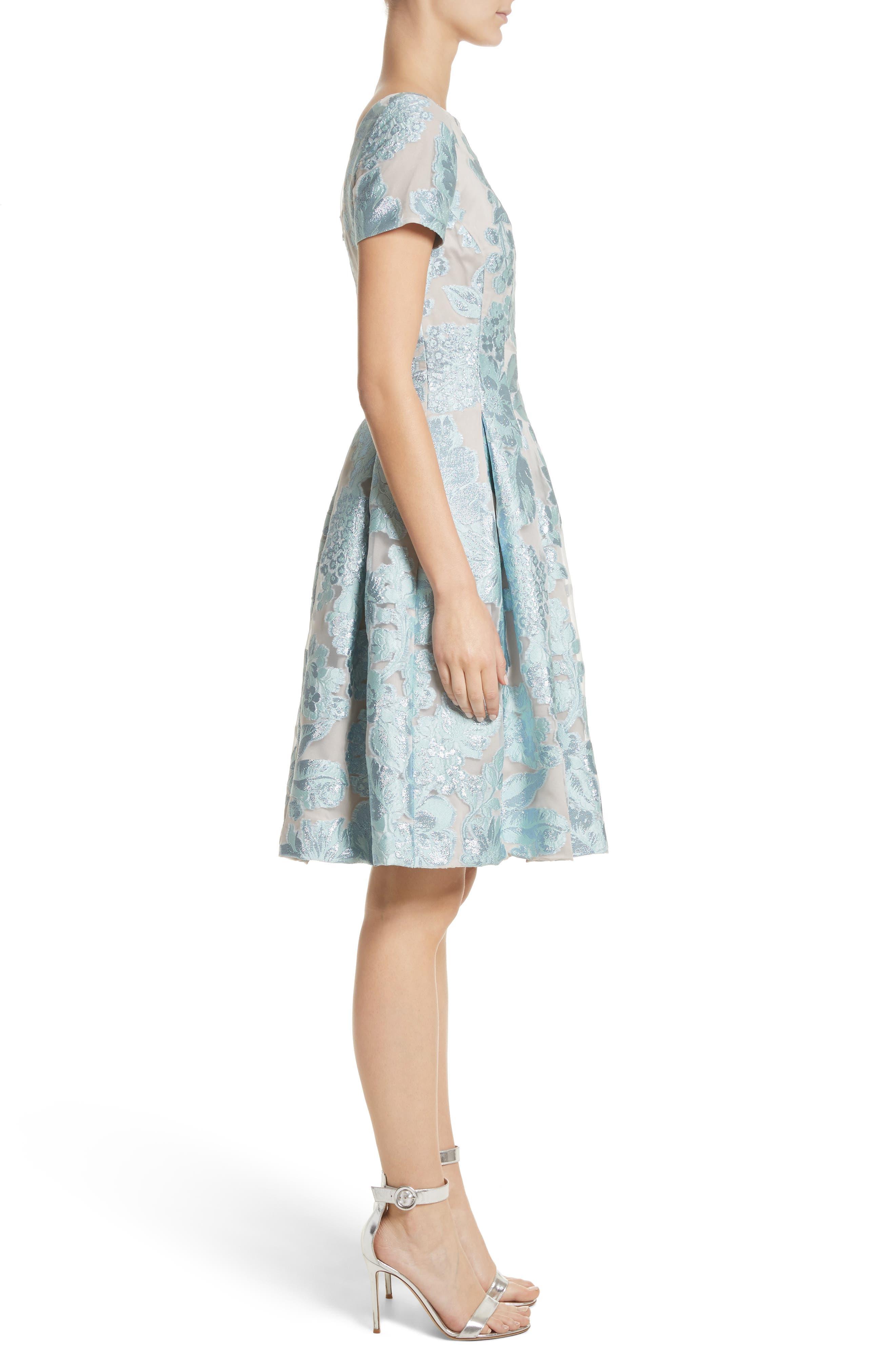 Floral Fil Coupé Organza Dress,                             Alternate thumbnail 4, color,                             Mint/ Silver
