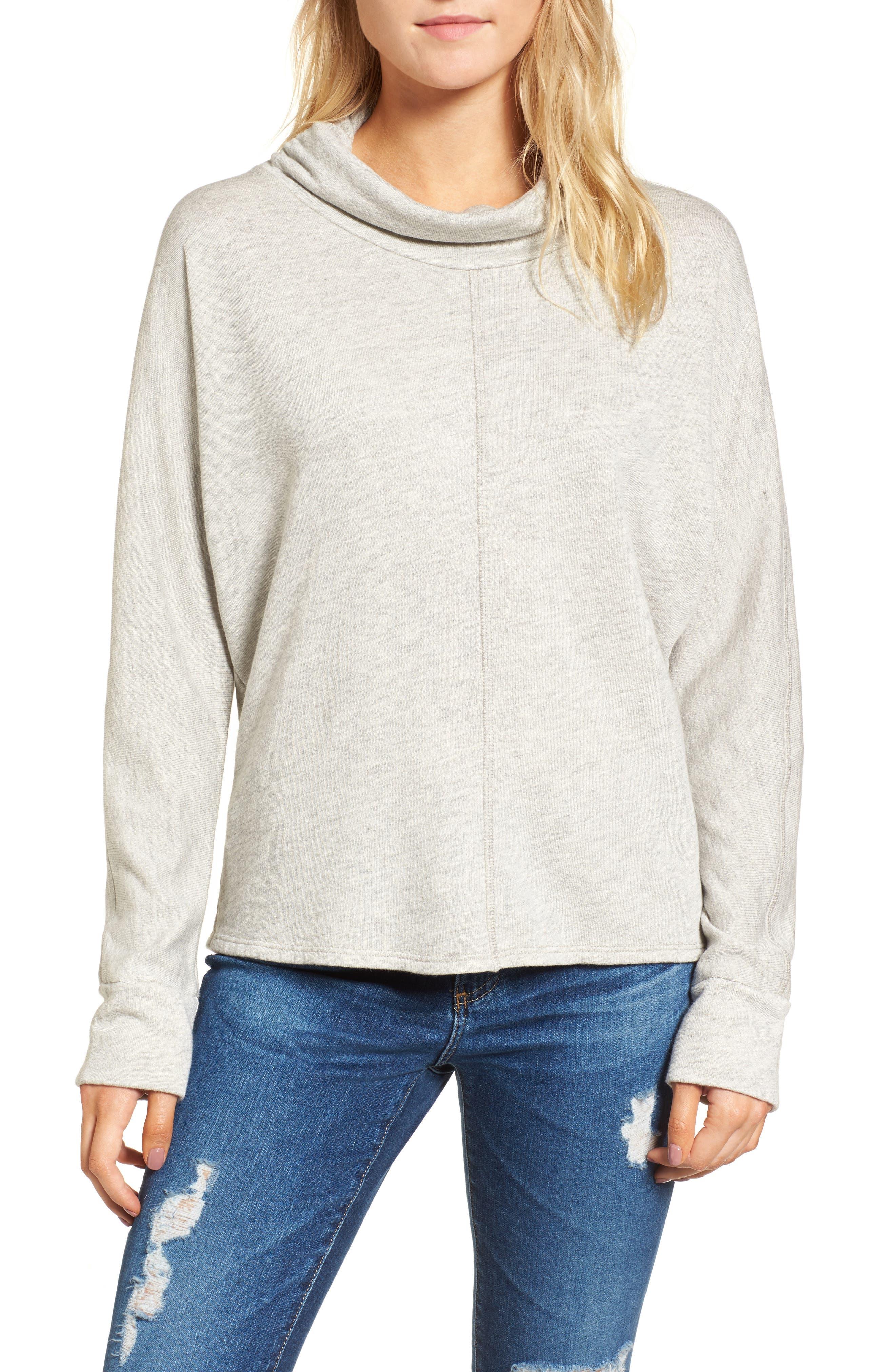 Helix Turtleneck Sweatshirt,                         Main,                         color, Heather Grey