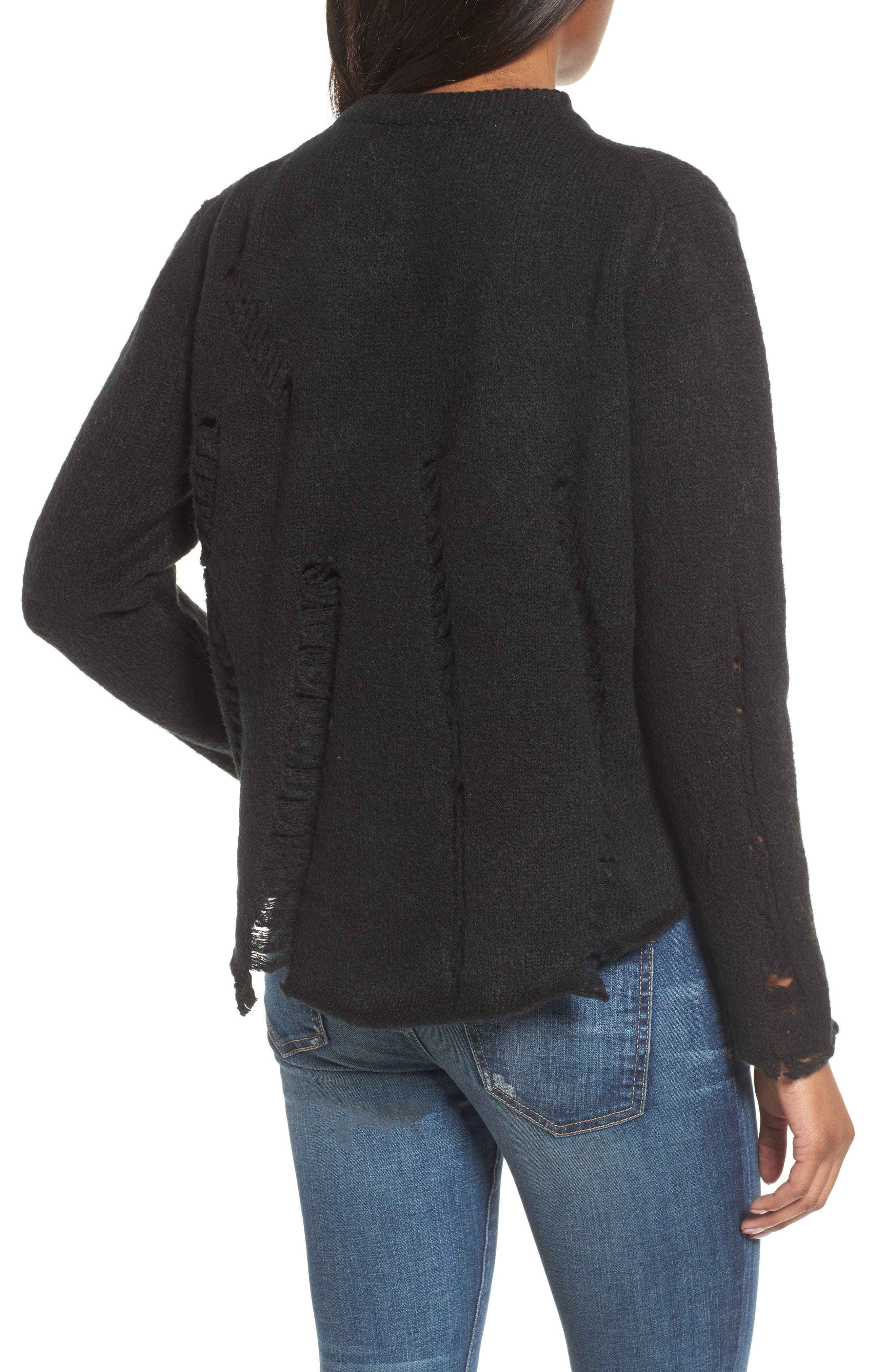 Destroyed High/Low Sweater,                             Alternate thumbnail 2, color,                             Black