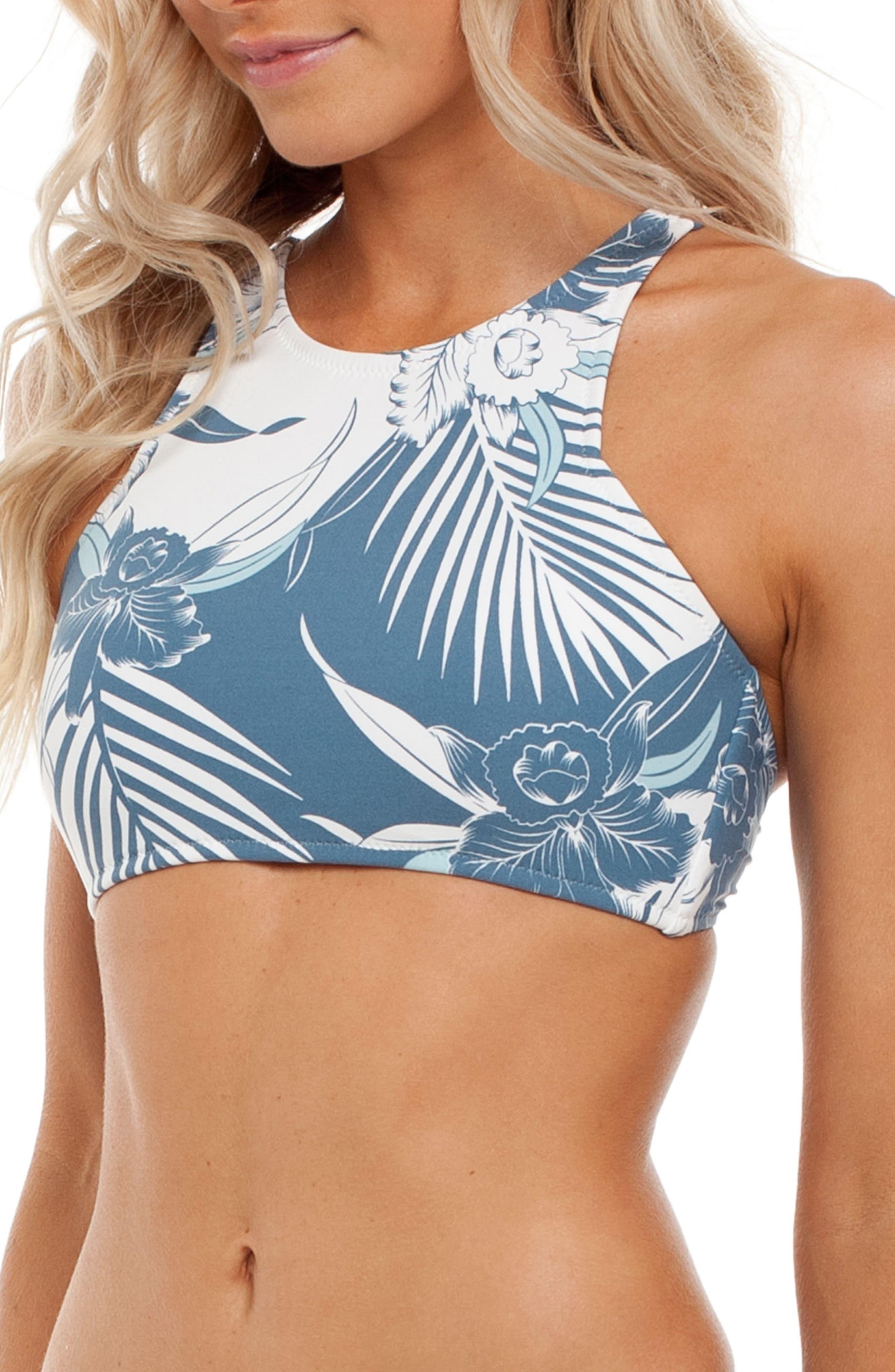 Honolulu High Neck Bikini Top,                             Alternate thumbnail 3, color,                             Malibu