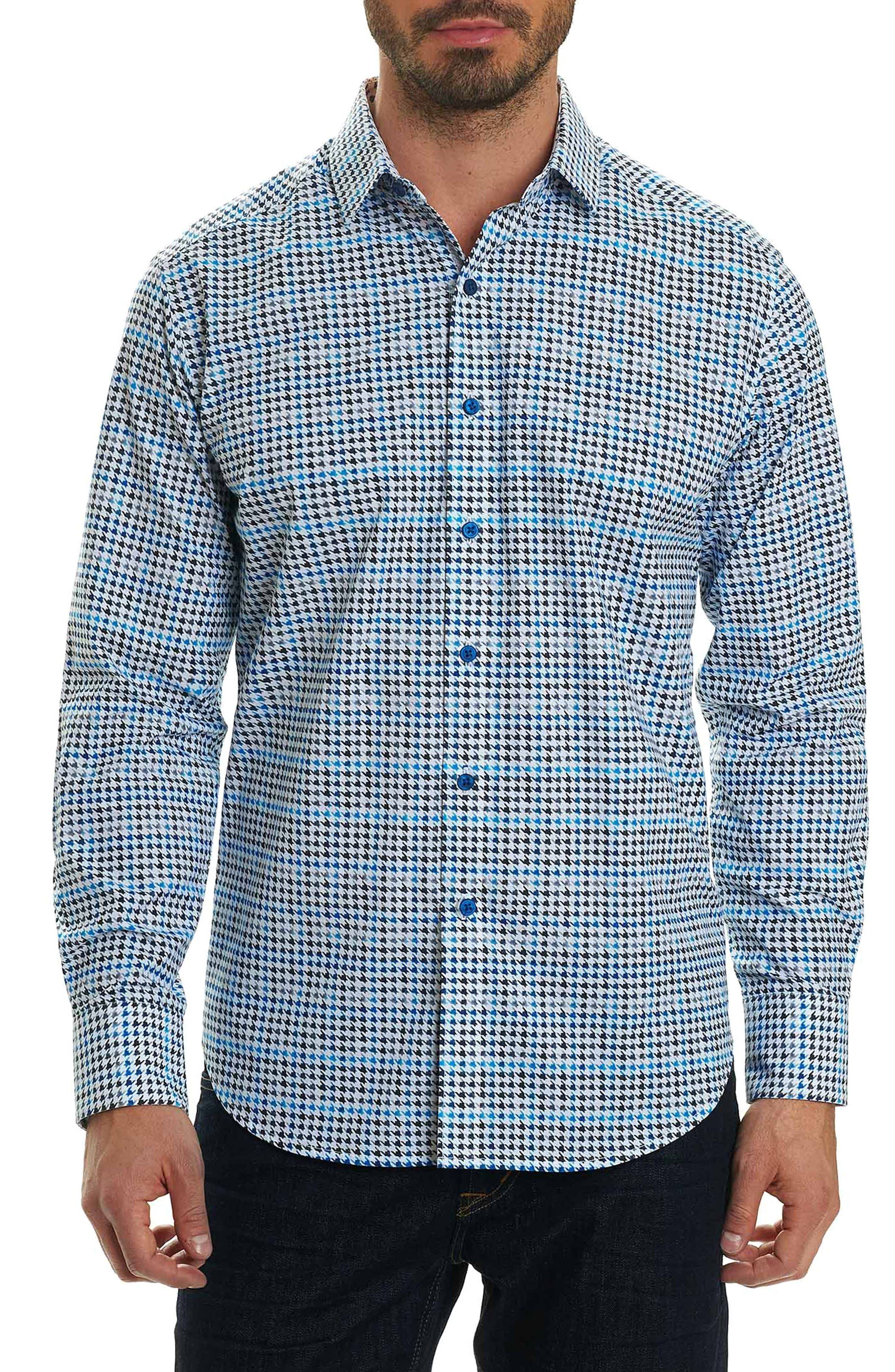 Rolf Classic Fit Houndstooth Print Sport Shirt,                             Main thumbnail 1, color,                             White