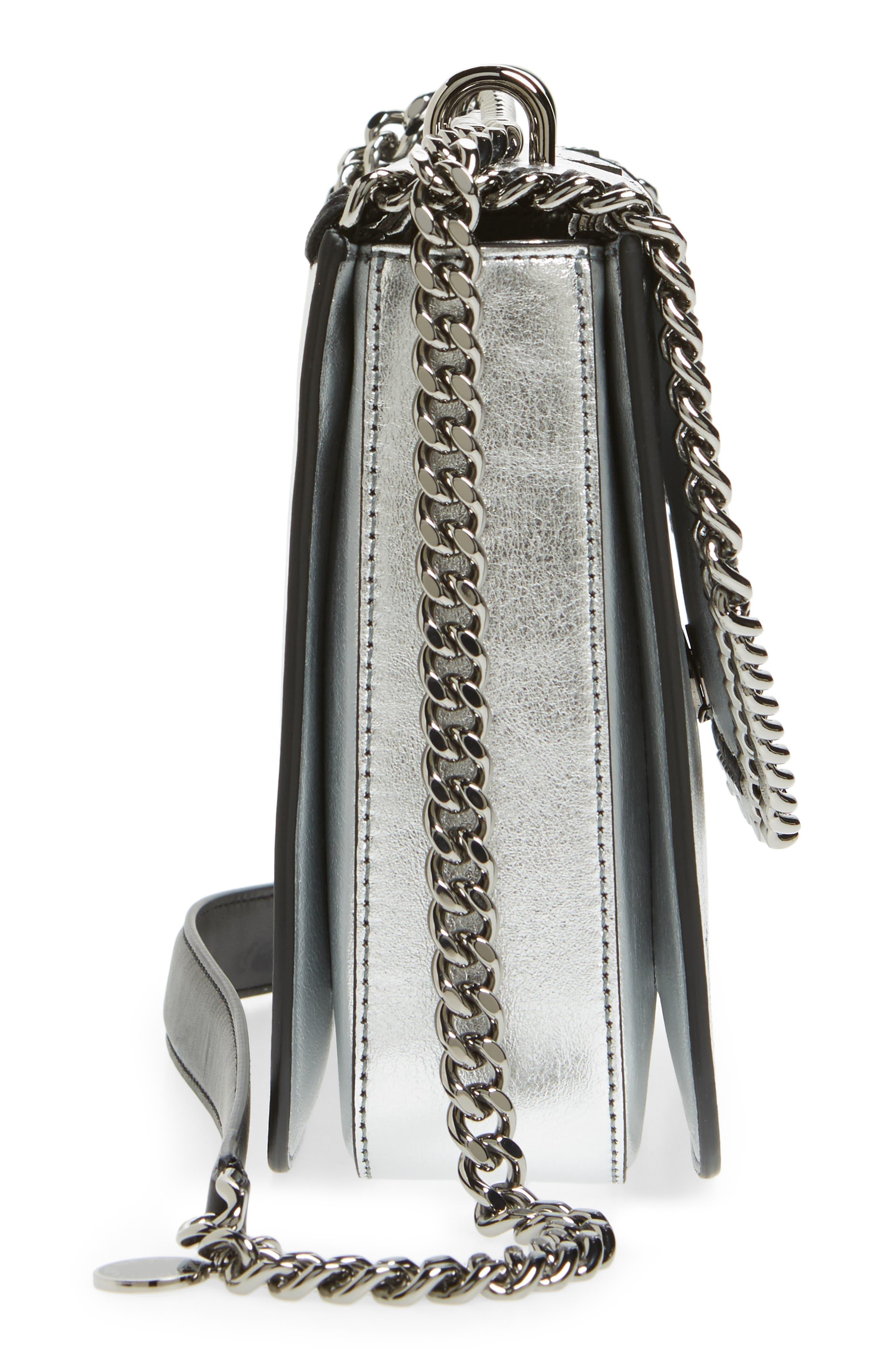 Falabella Star Cutout Metallic Faux Leather Shoulder Bag,                             Alternate thumbnail 5, color,                             Silver