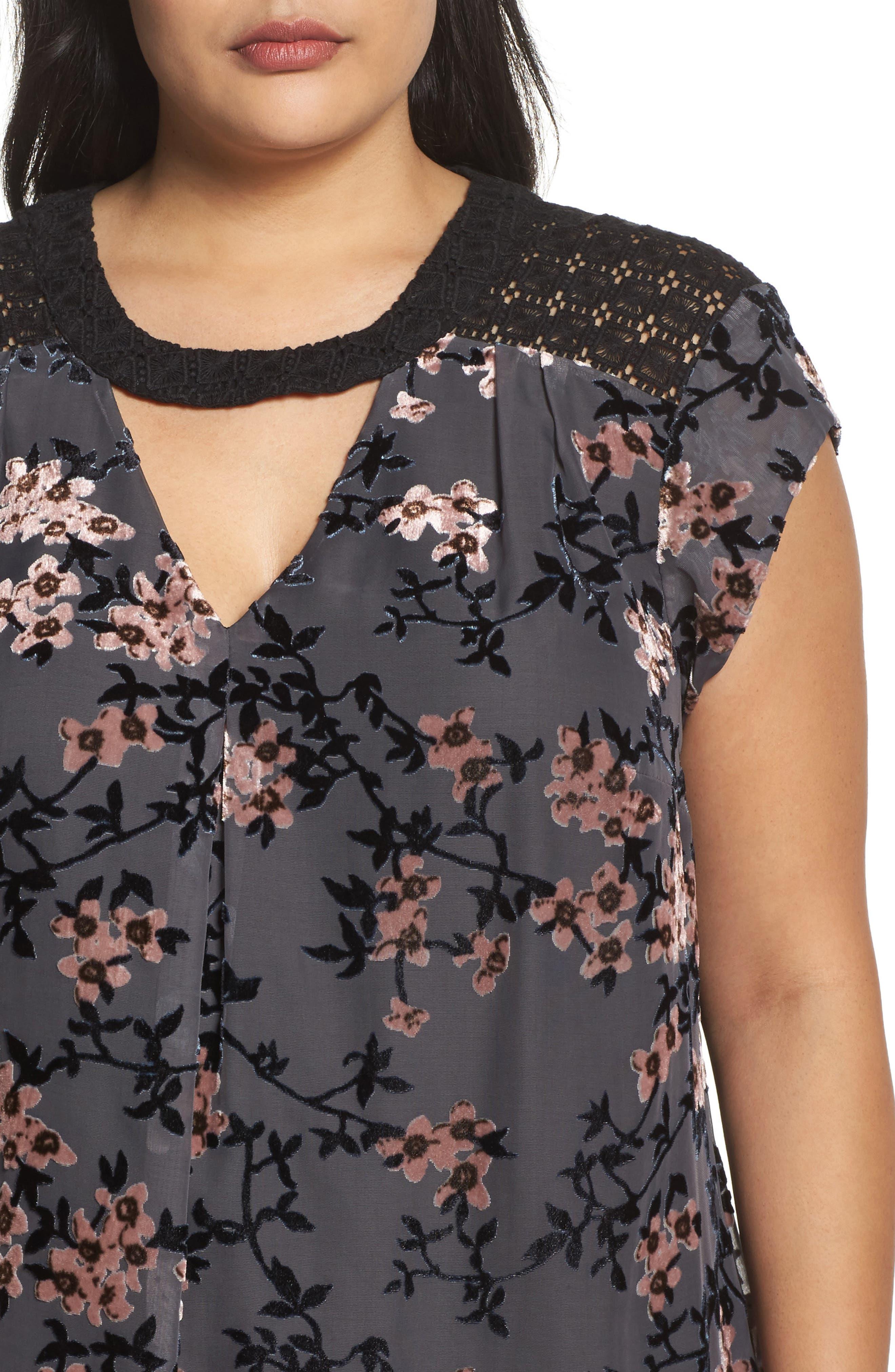 Alternate Image 4  - Daniel Rainn Floral Burnout Velvet Top (Plus Size)