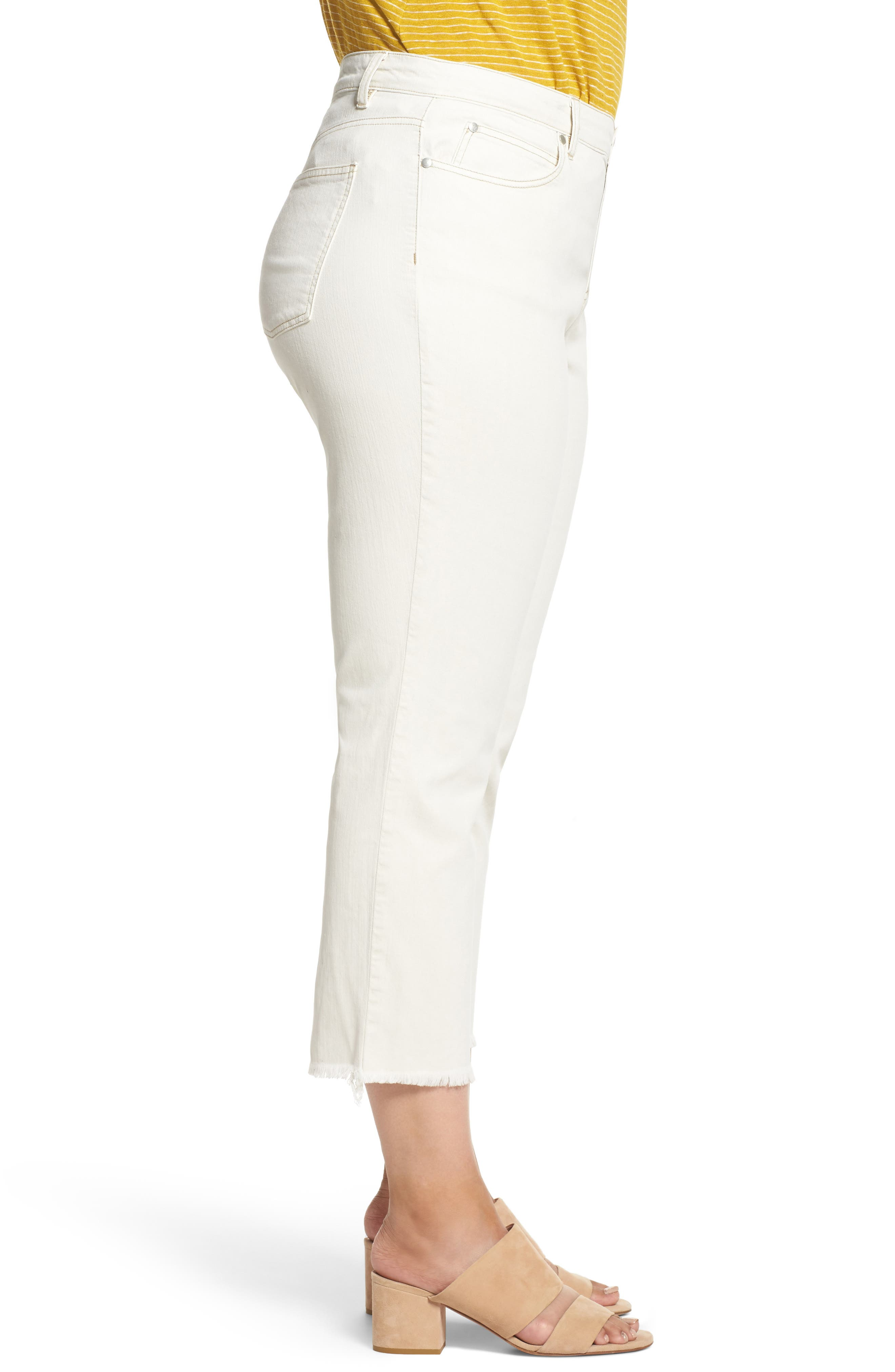 Stretch Organic Denim Crop Jeans,                             Alternate thumbnail 3, color,                             Undyed Natural