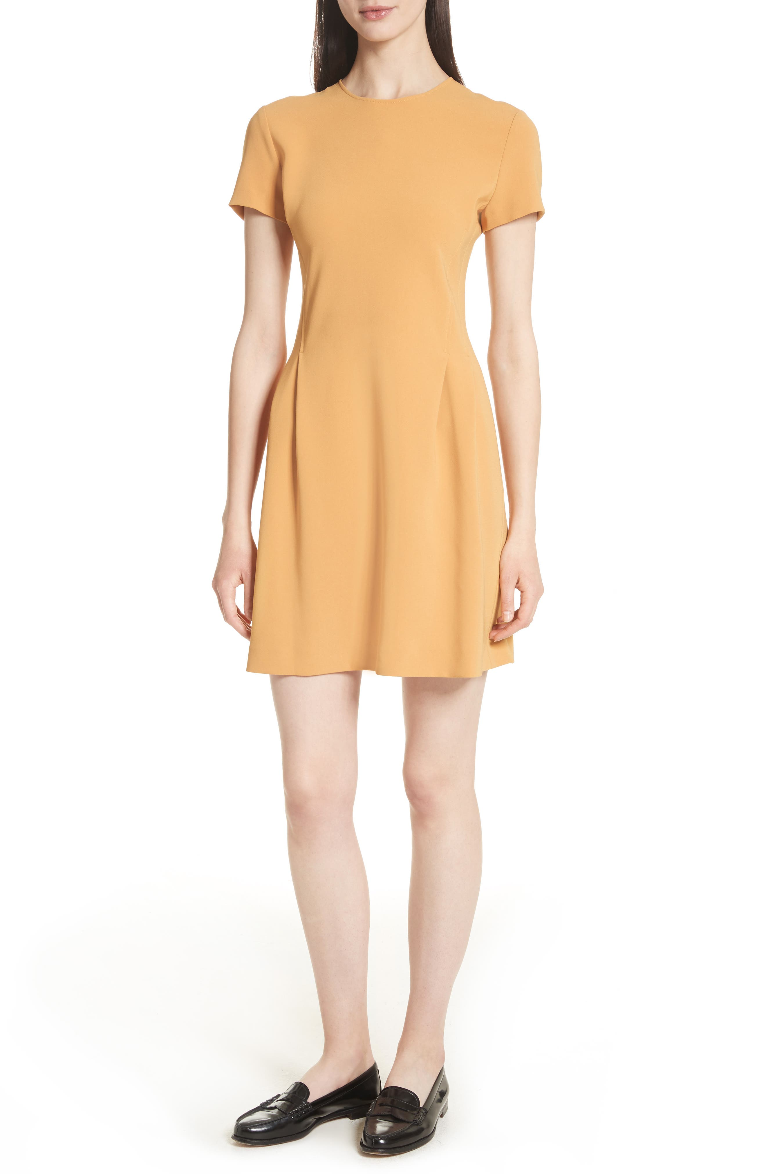 Corset Admiral Crepe T-Shirt Dress,                             Main thumbnail 1, color,                             Papaya