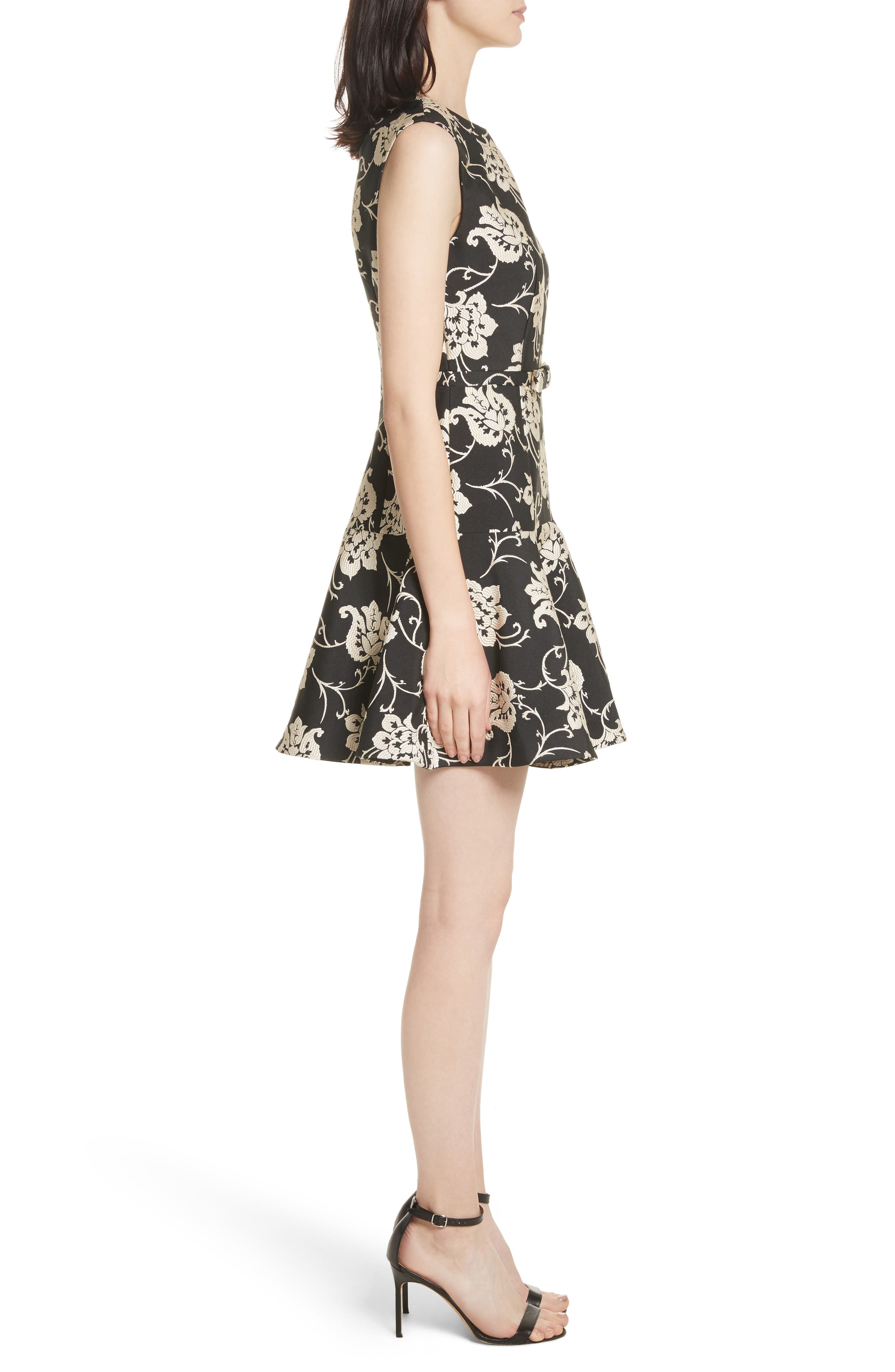 Ornate Paisley Ruffle Hem Dress,                             Alternate thumbnail 3, color,                             Black
