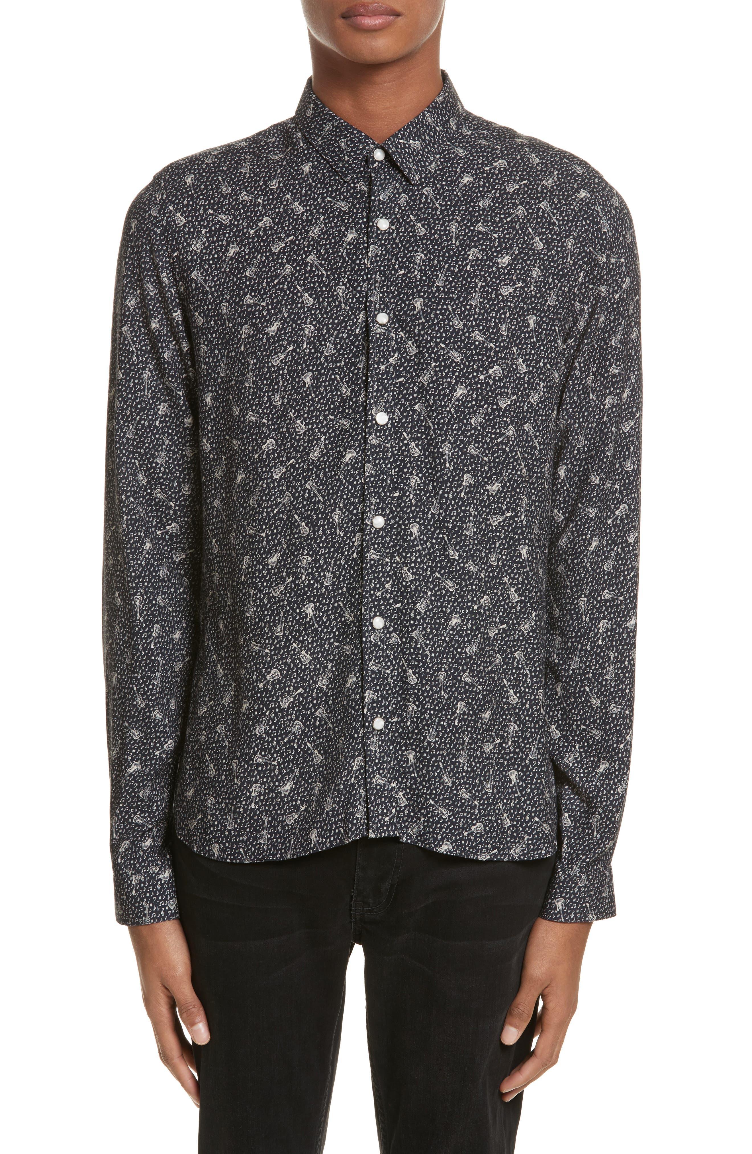 Guitar Print Woven Shirt,                         Main,                         color, Navy