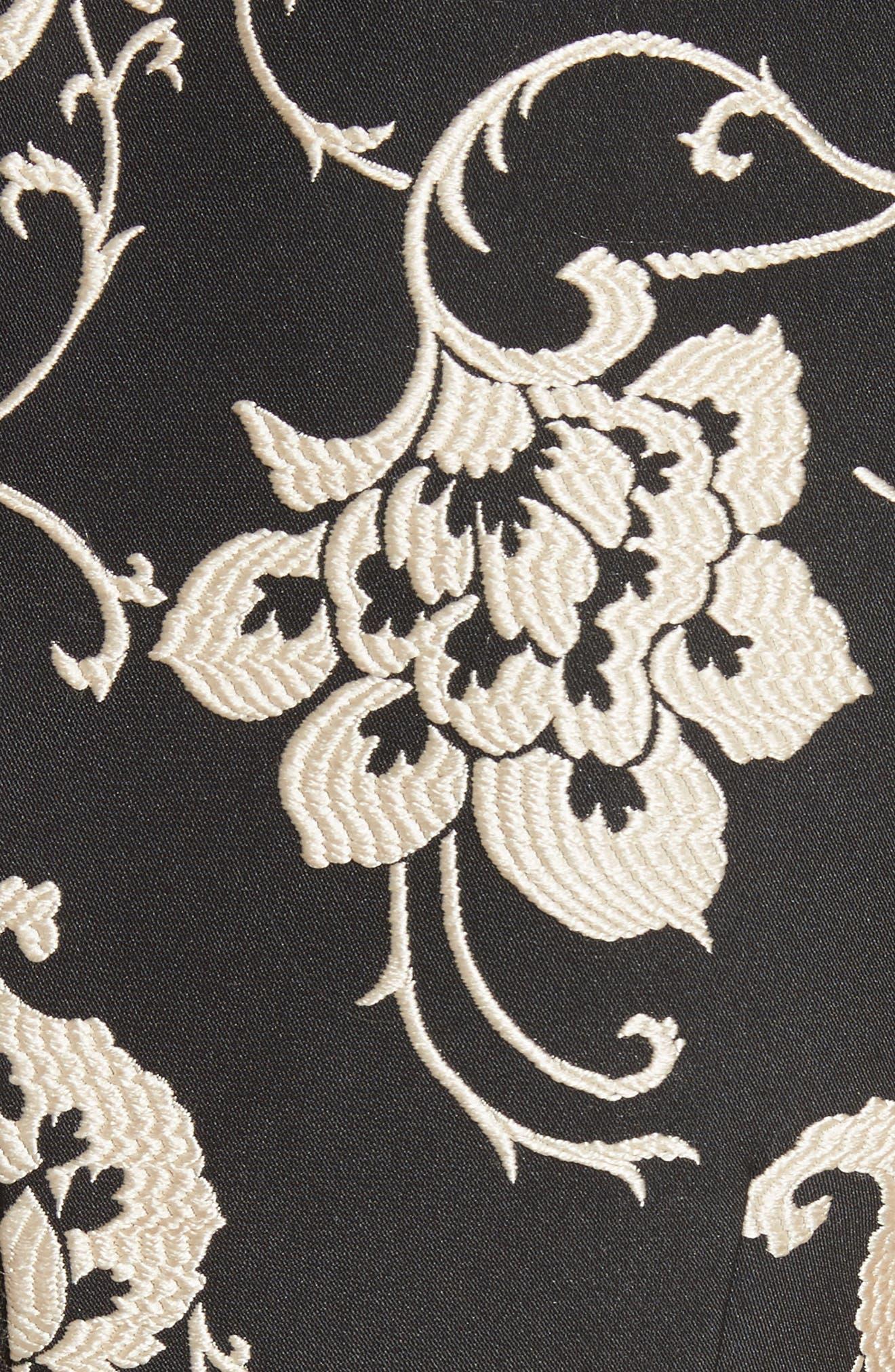 Ornate Paisley Ruffle Hem Dress,                             Alternate thumbnail 5, color,                             Black