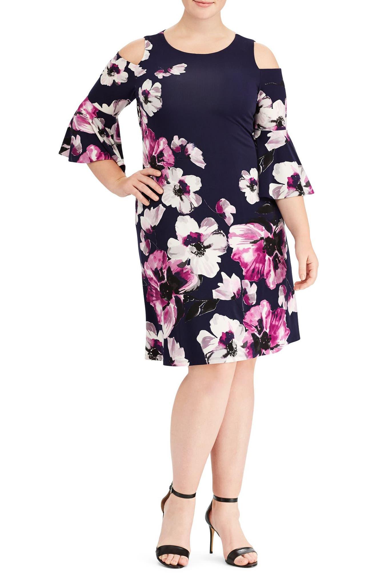 Main Image - Lauren Ralph Lauren Print Cold Shoulder Shift Dress (Plus Size)