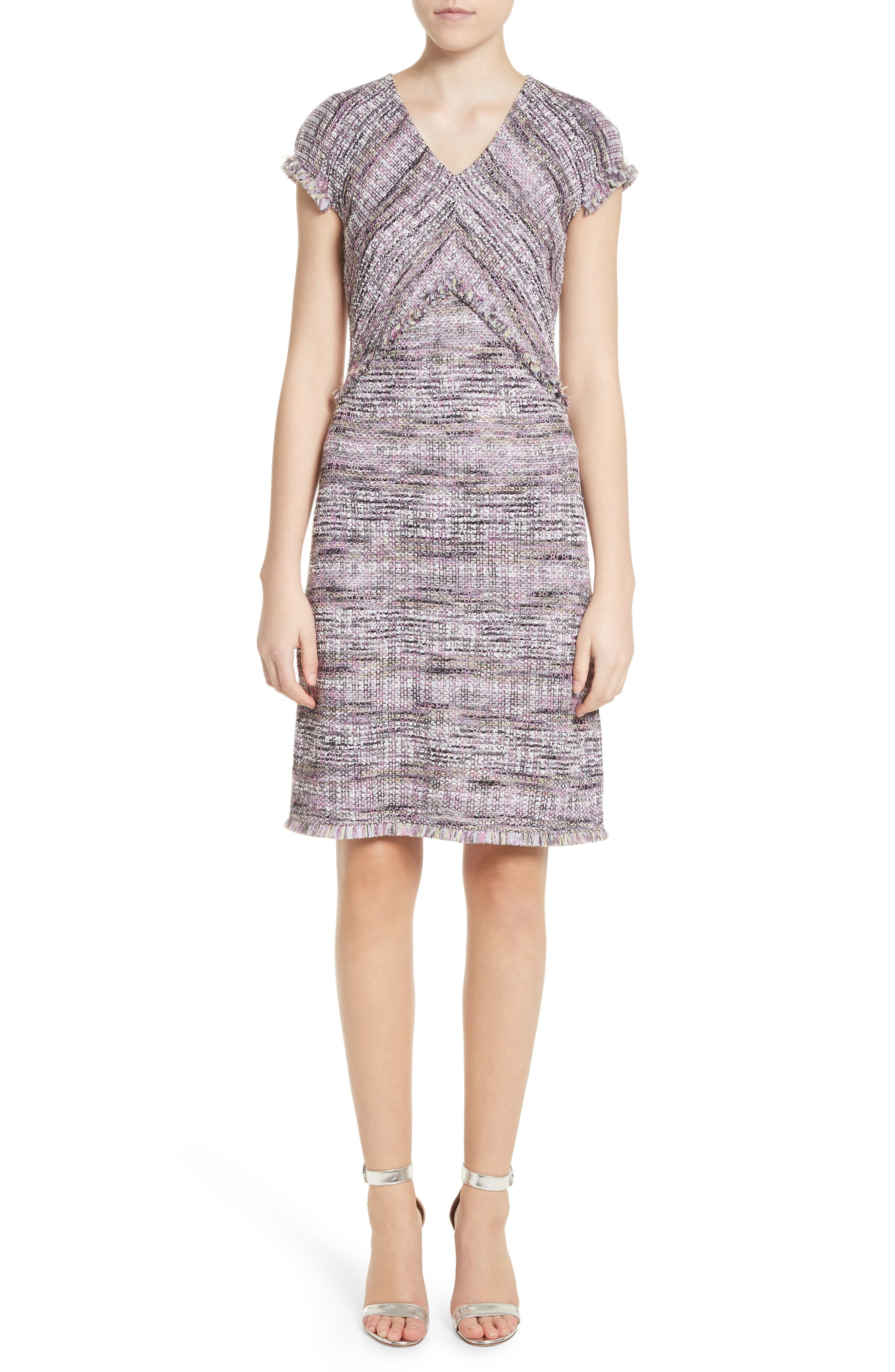 Anna Stripe Tweed Dress,                             Main thumbnail 1, color,                             Orchid Multi