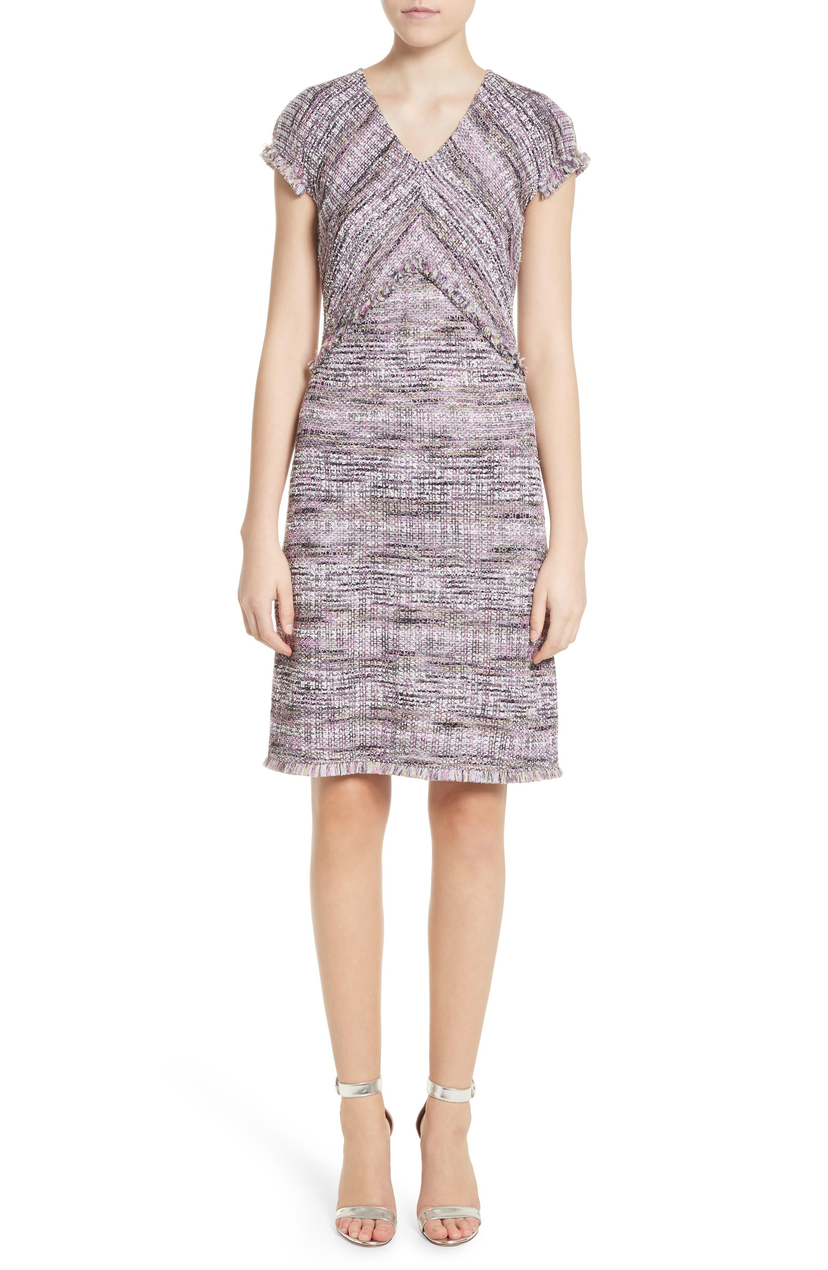 Anna Stripe Tweed Dress,                         Main,                         color, Orchid Multi