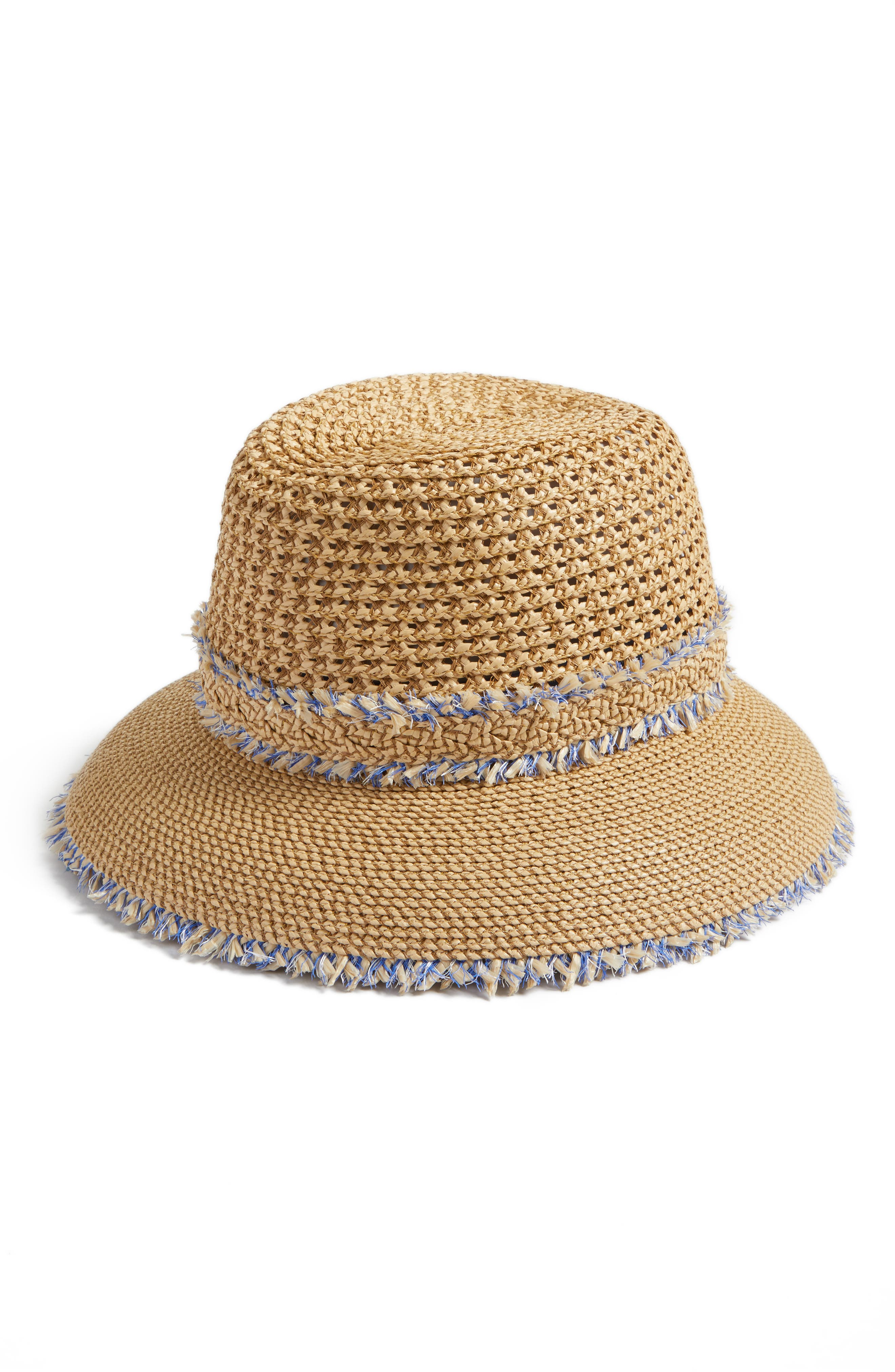 Lulu Squishee<sup>®</sup> Straw Hat,                             Main thumbnail 1, color,                             Peanut Mix
