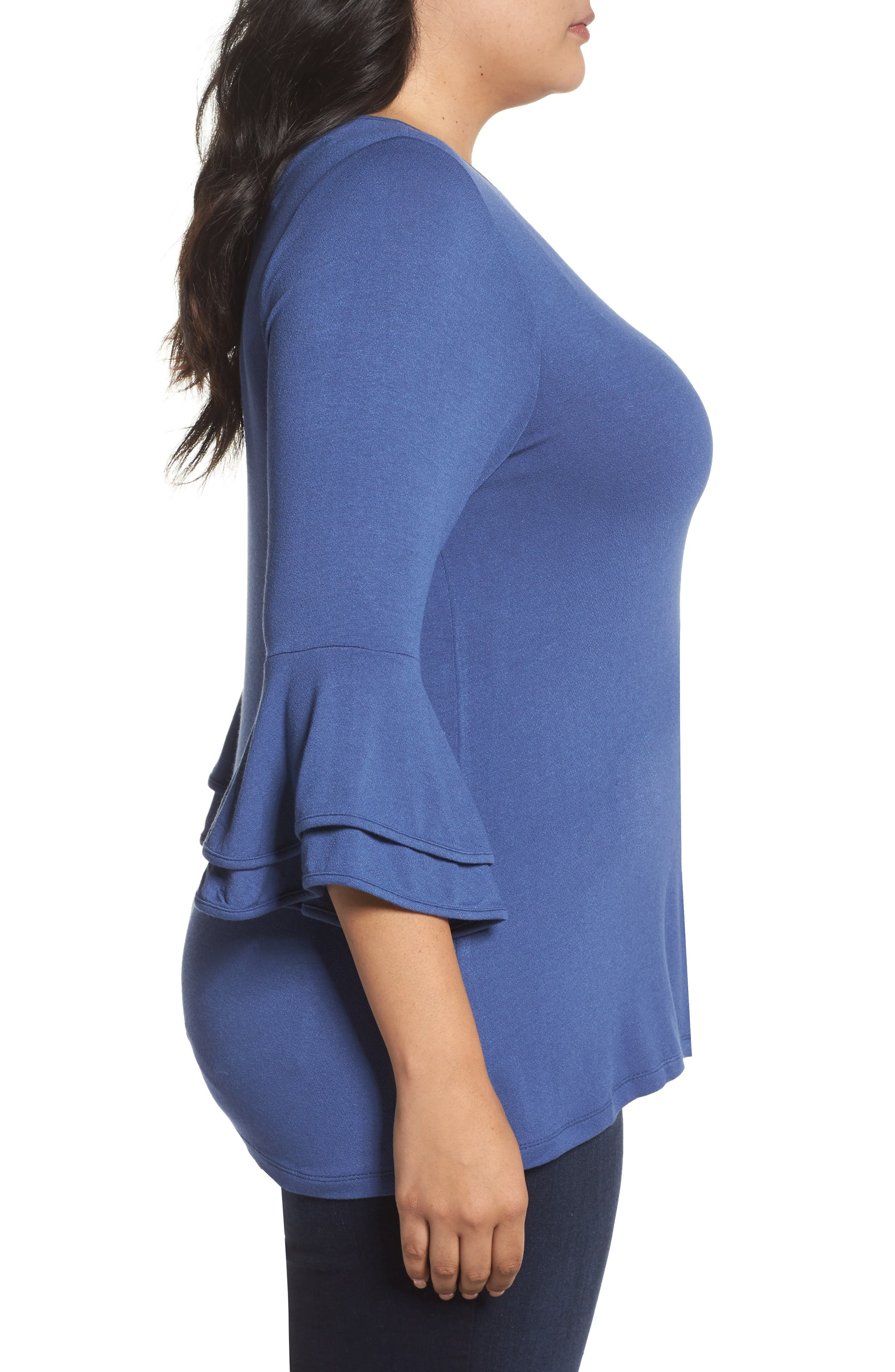 Alternate Image 3  - Bobeau Double Ruffle Sleeve Top (Plus Size)