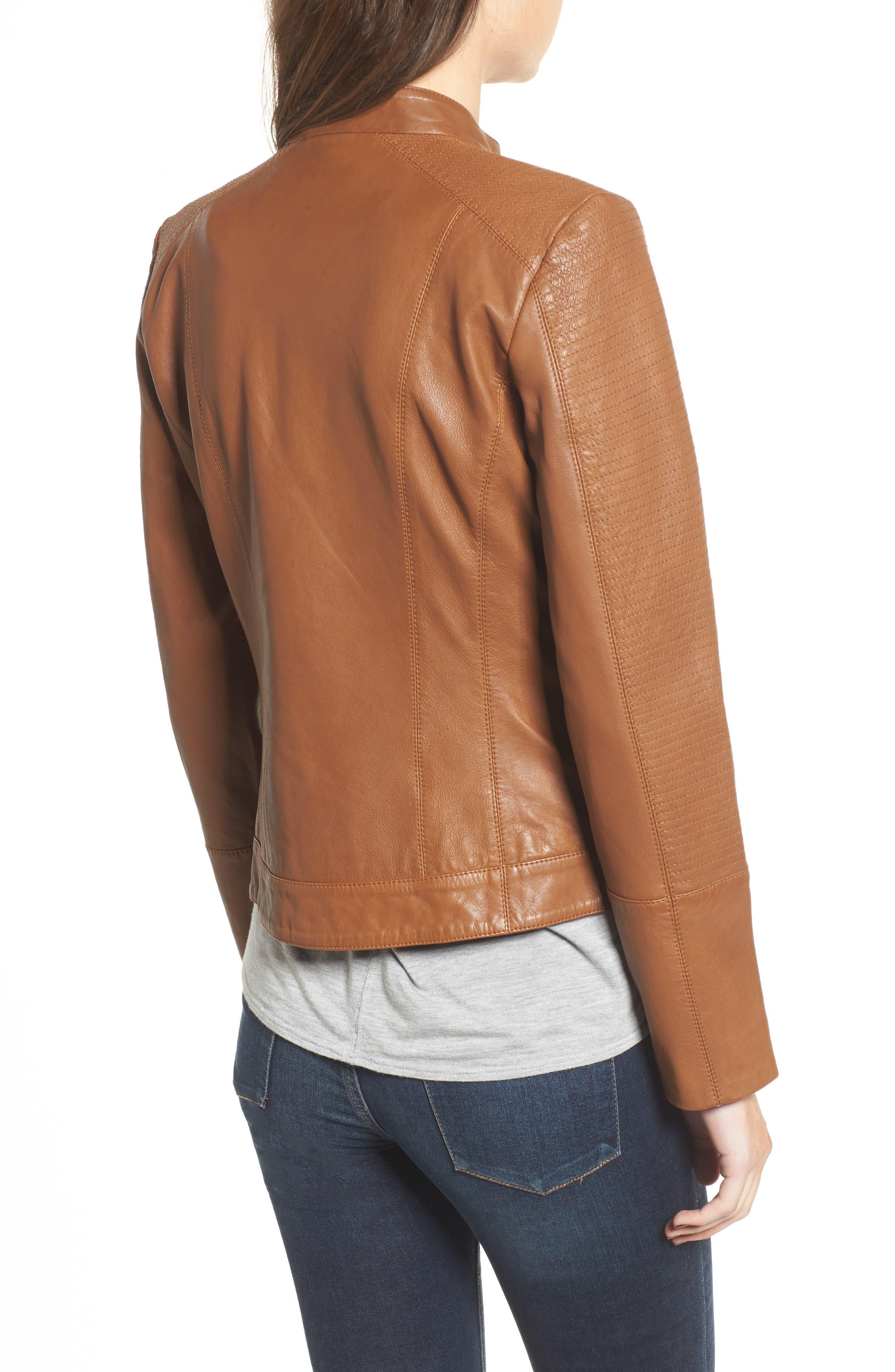 Kirwin Leather Moto Jacket,                             Alternate thumbnail 2, color,                             Pecan