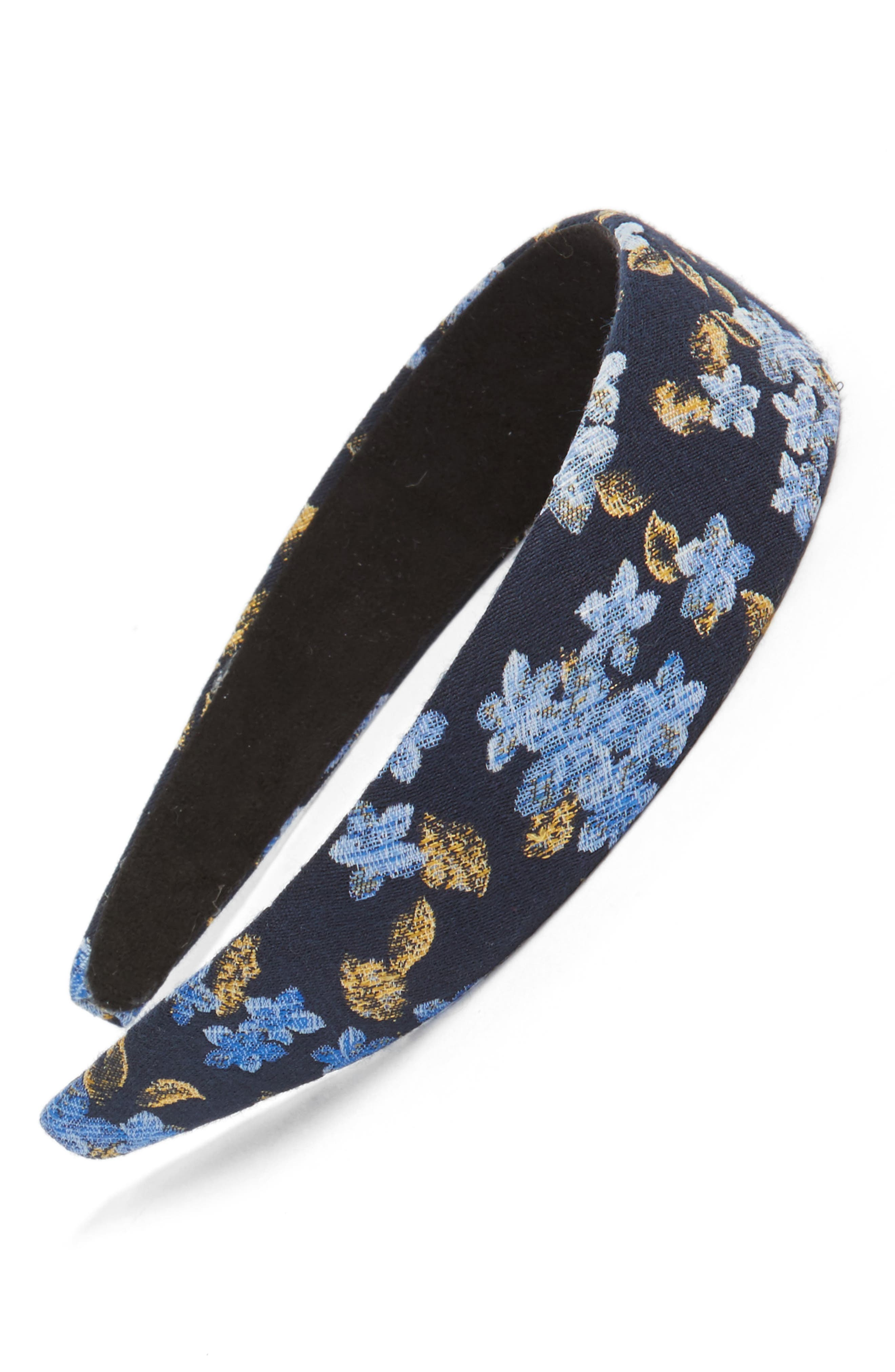 Floral Brocade Headband,                         Main,                         color, Blue/ Black