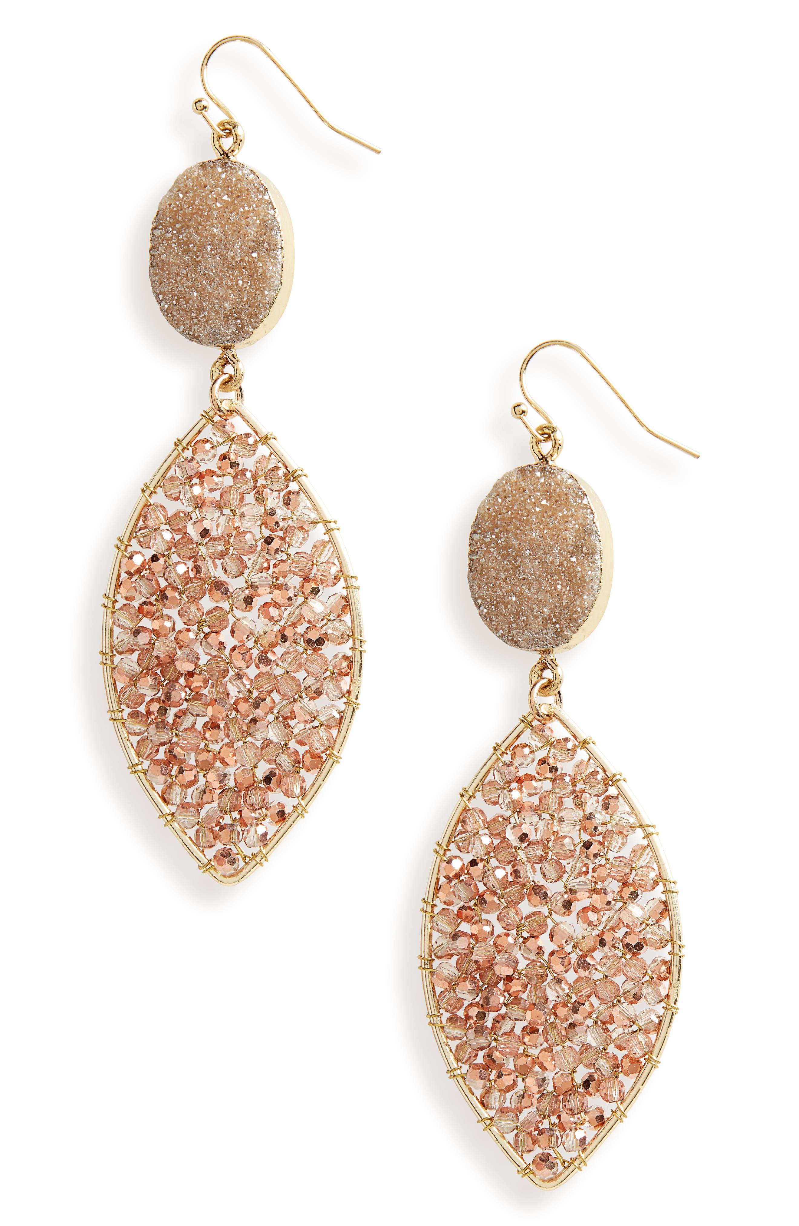 Drusy Drop Earrings,                         Main,                         color, Topaz