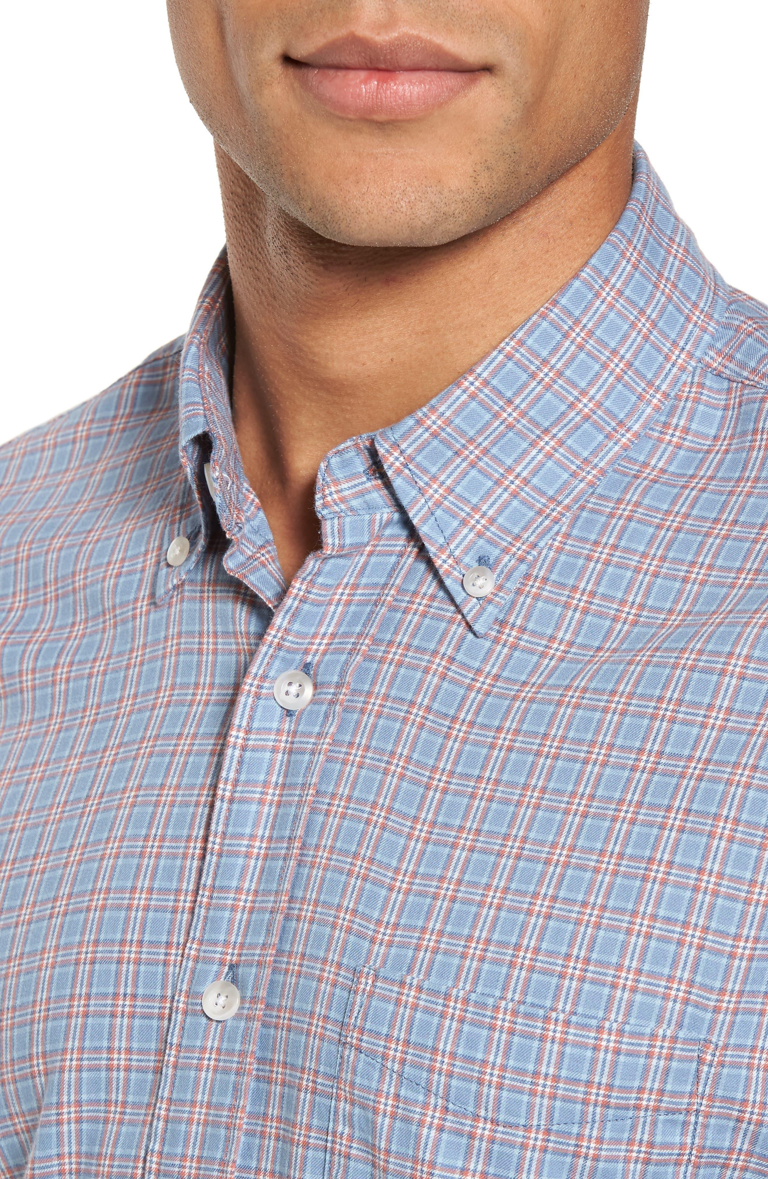 Ventura Plaid Sport Shirt,                             Alternate thumbnail 4, color,                             Light Blue Autumn Check