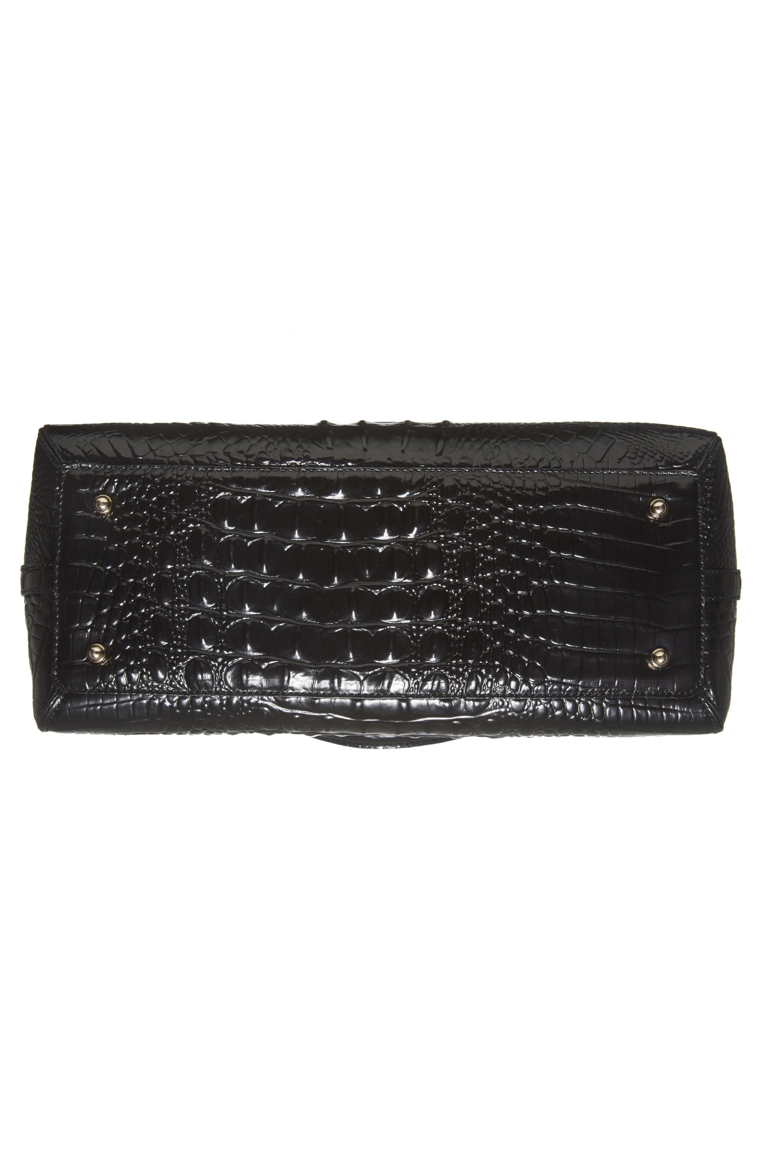 Melbourne – Sydney Croc Embossed Leather Satchel,                             Alternate thumbnail 6, color,                             Black