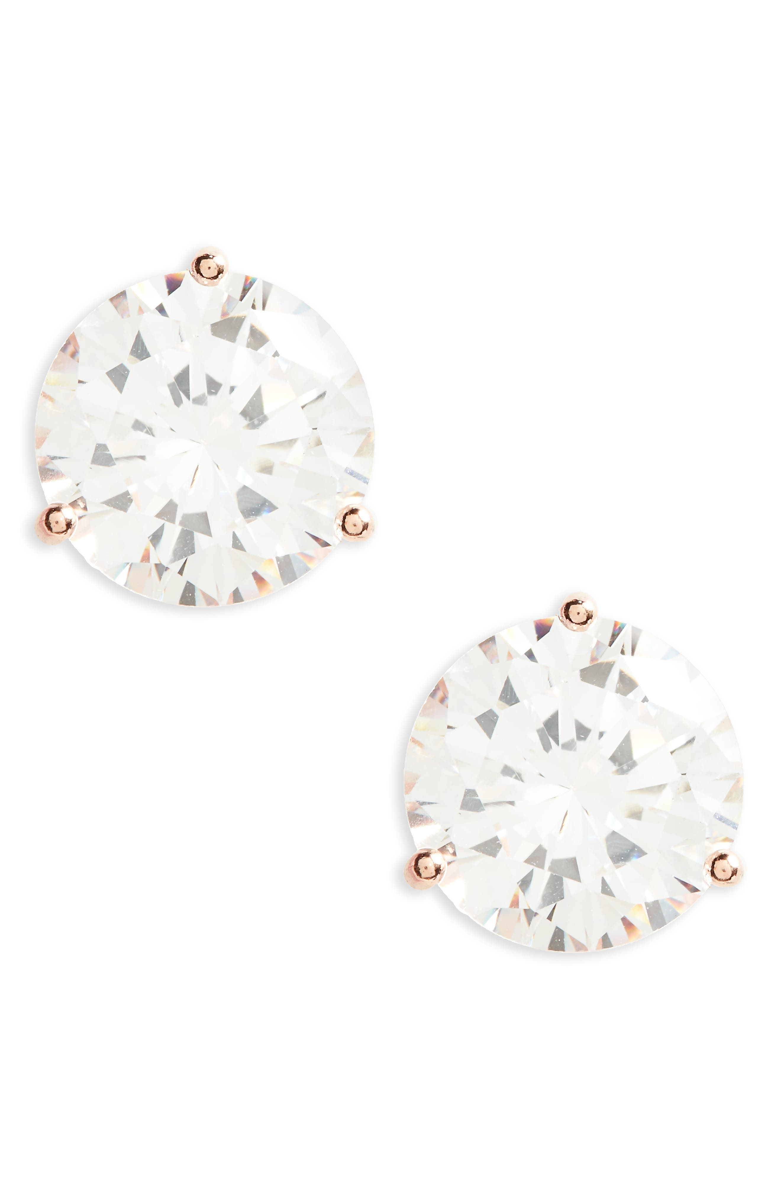 8ct tw Cubic Zirconia Stud Earrings,                             Main thumbnail 1, color,                             Clear- Rose Gold