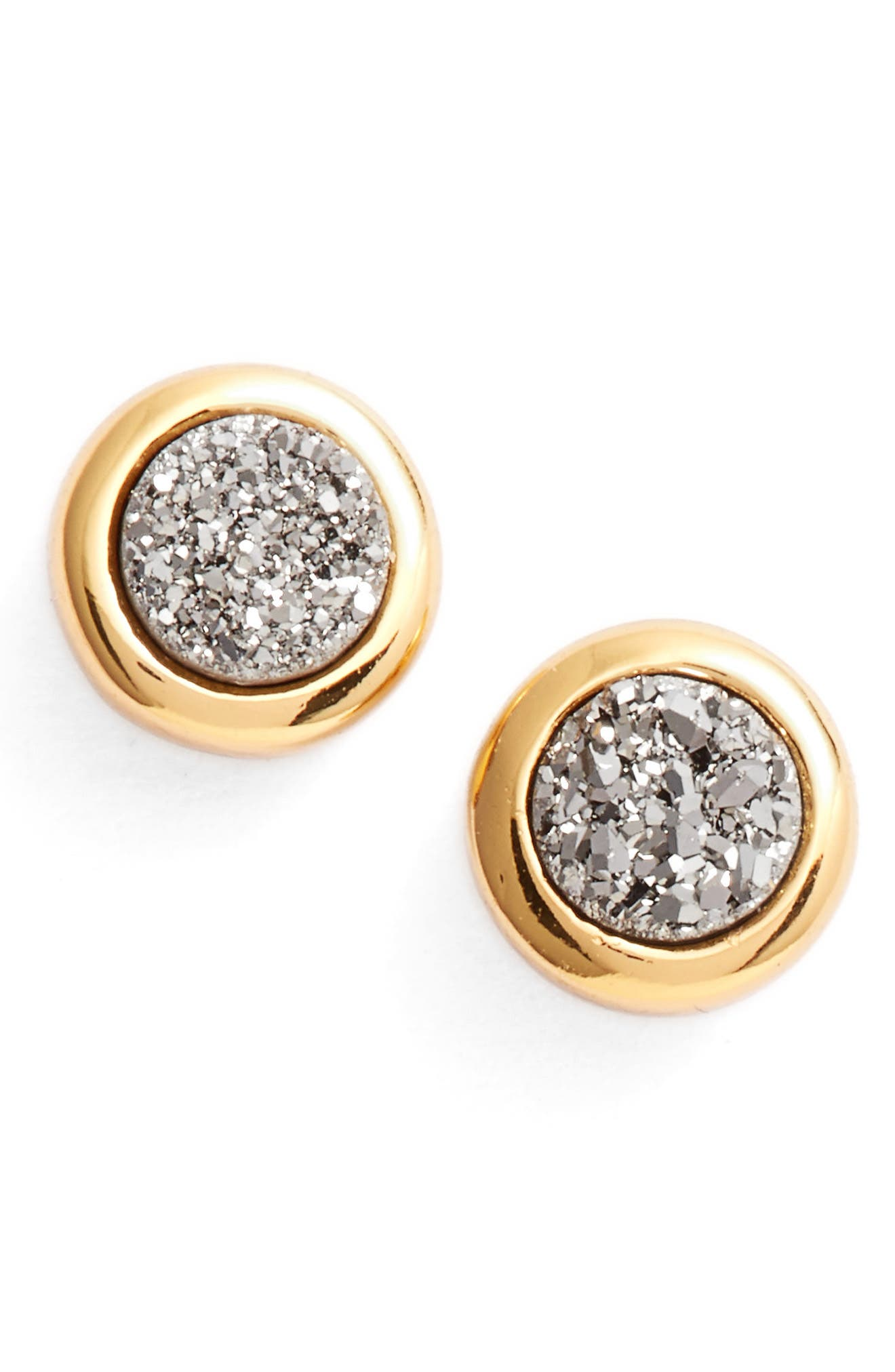 Astoria Drusy Stud Earrings,                             Main thumbnail 1, color,                             Silver Druzy/ Gold