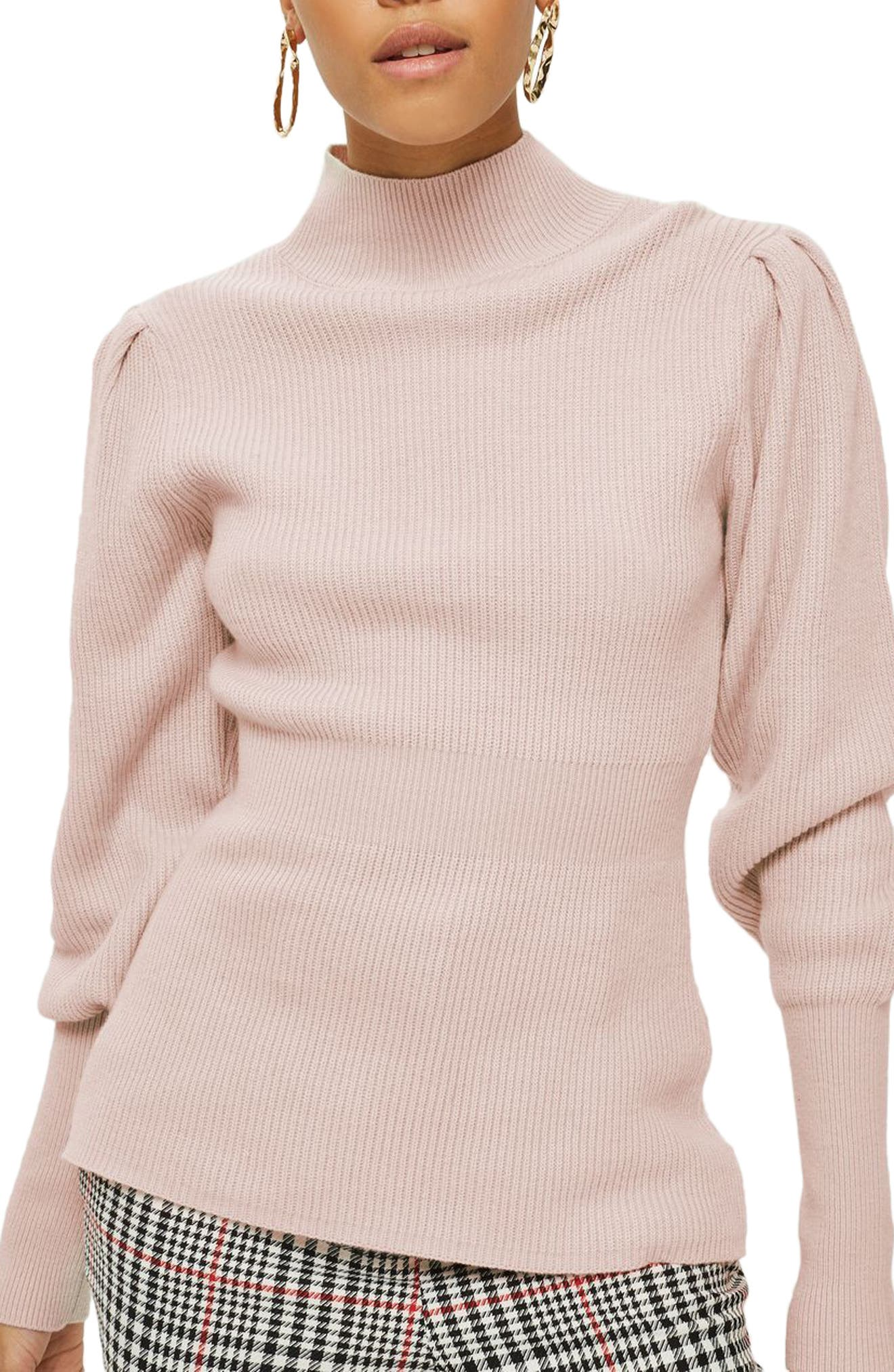 Puff Sleeve Funnel Neck Sweater,                         Main,                         color, Blush