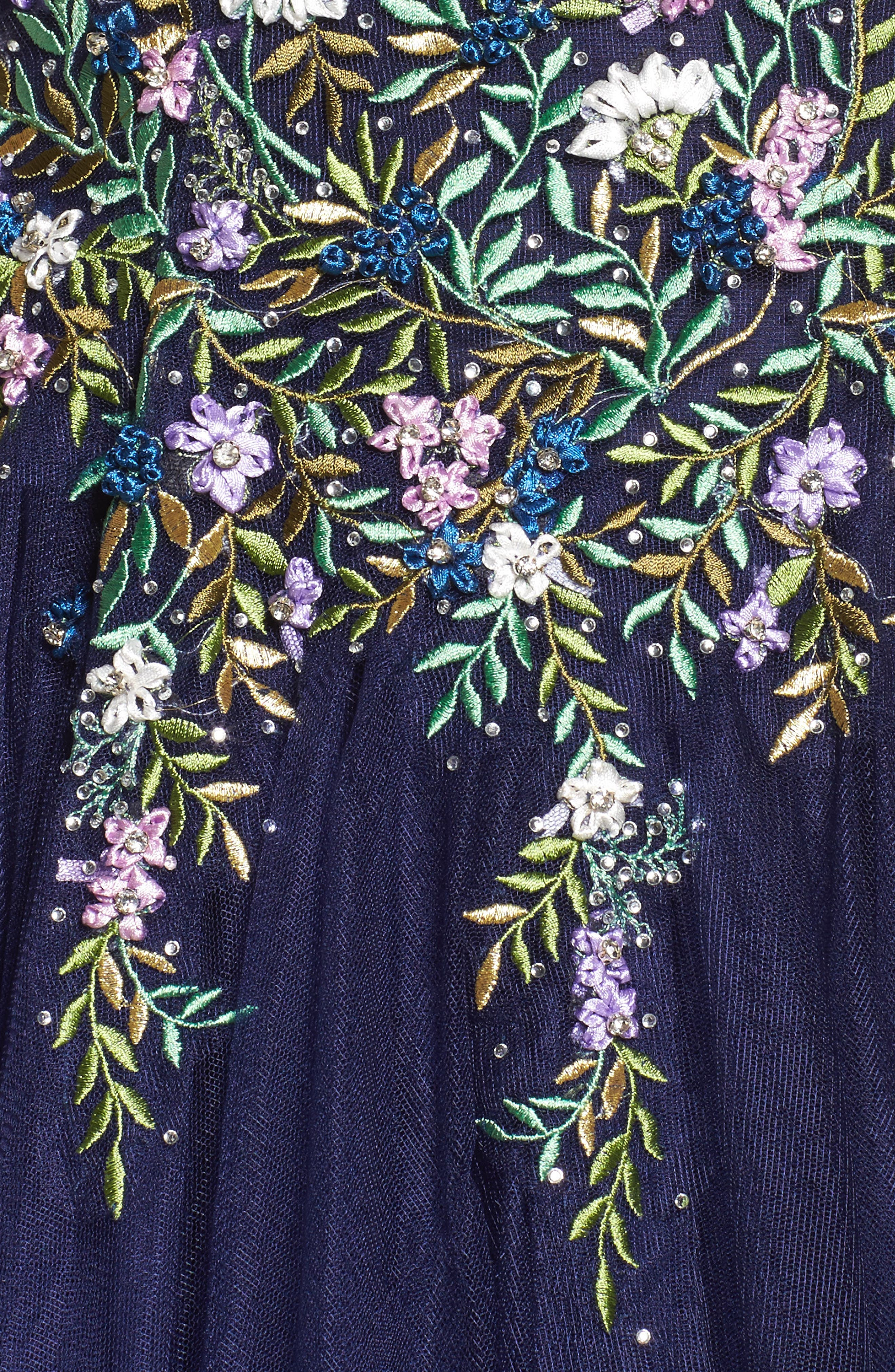 Embroidered Bodice Ballgown,                             Alternate thumbnail 5, color,                             Indigo