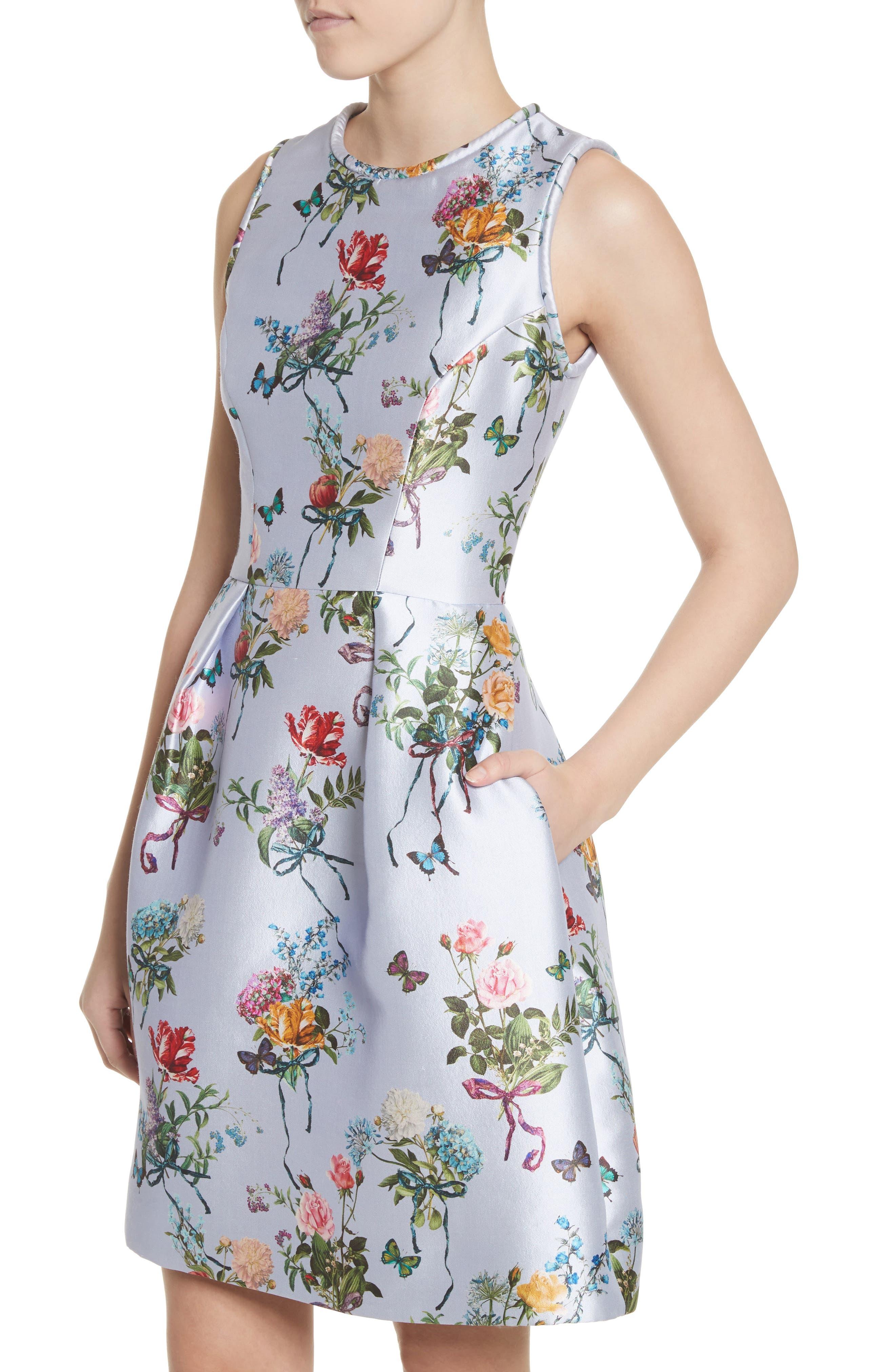 Botantical Print Structured Twill Dress,                             Alternate thumbnail 4, color,                             Lavender Multi