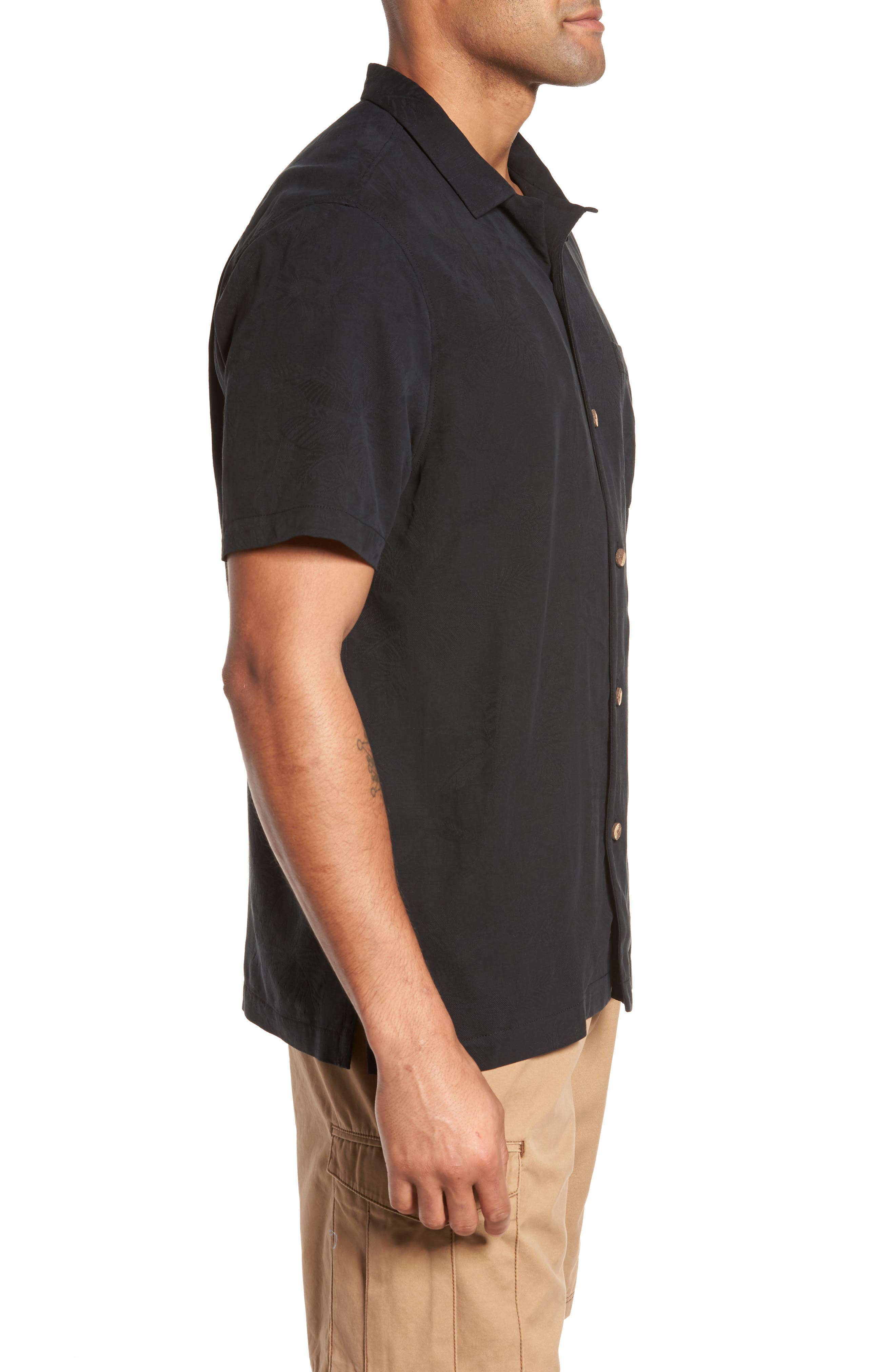 St Lucia Fronds Silk Camp Shirt,                             Alternate thumbnail 3, color,                             Black