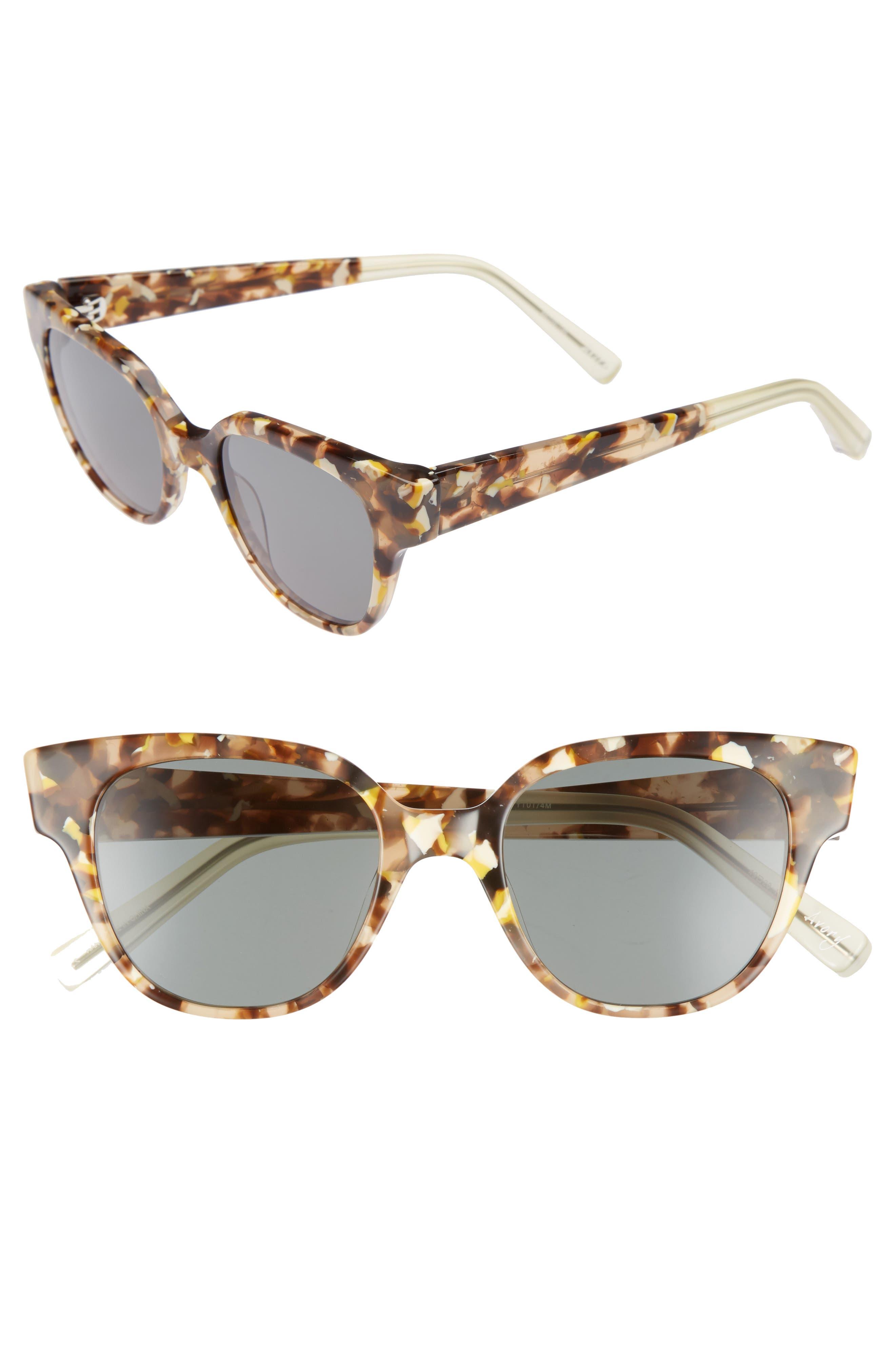 Avory 49mm Cat Eye Sunglasses,                             Main thumbnail 1, color,                             Amber/ Green