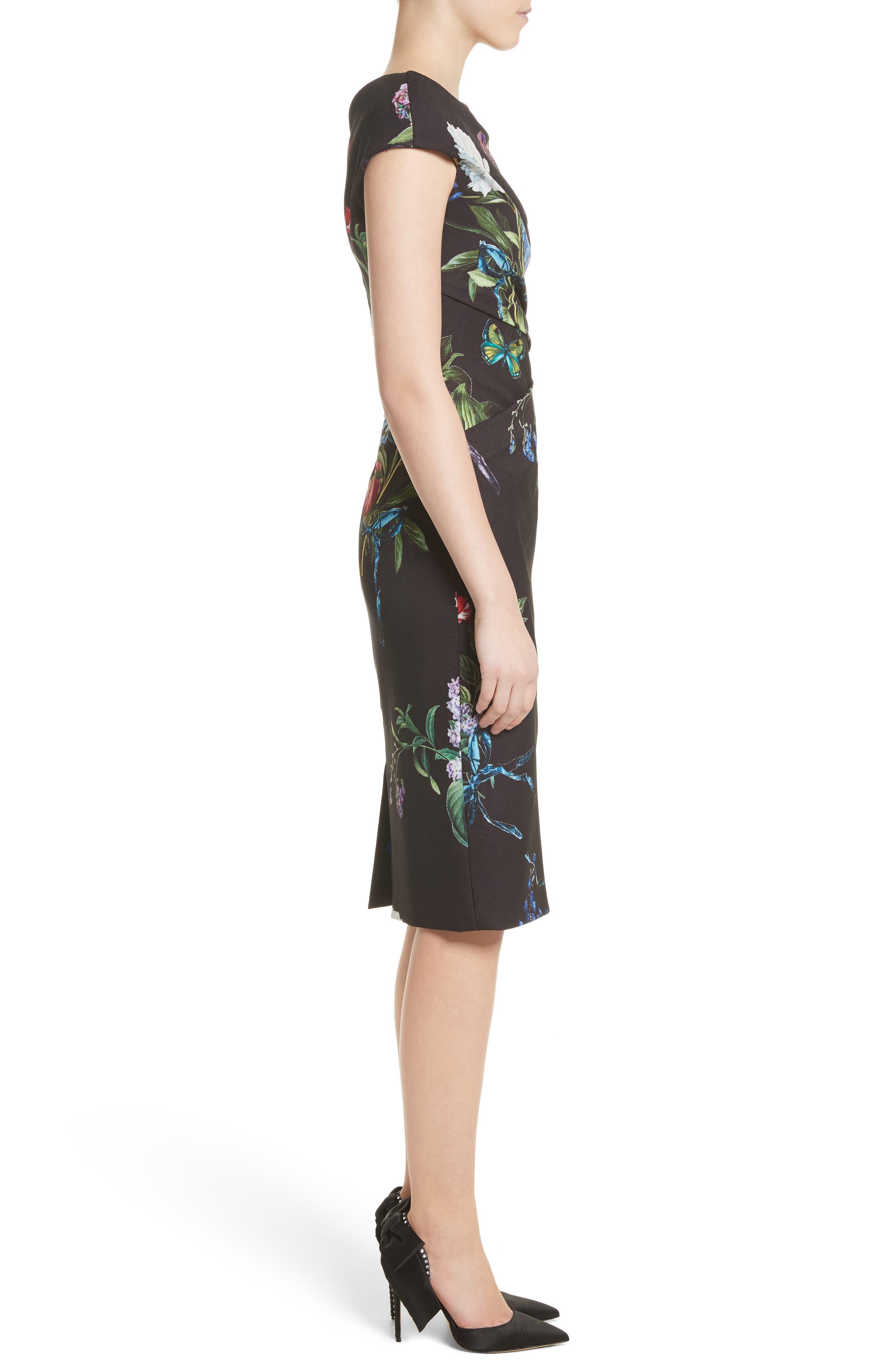 Alternate Image 3  - Monique Lhuillier Botanical Print Draped Sheath Dress
